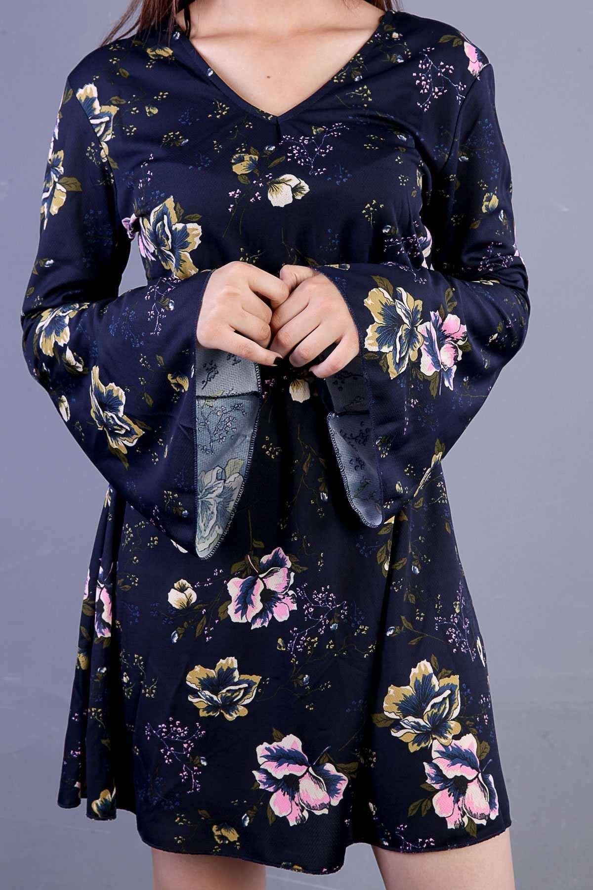 Çiçek Desenli Bel Büzmeli Uzun Kol V Yaka Midi Elbise Lacivert
