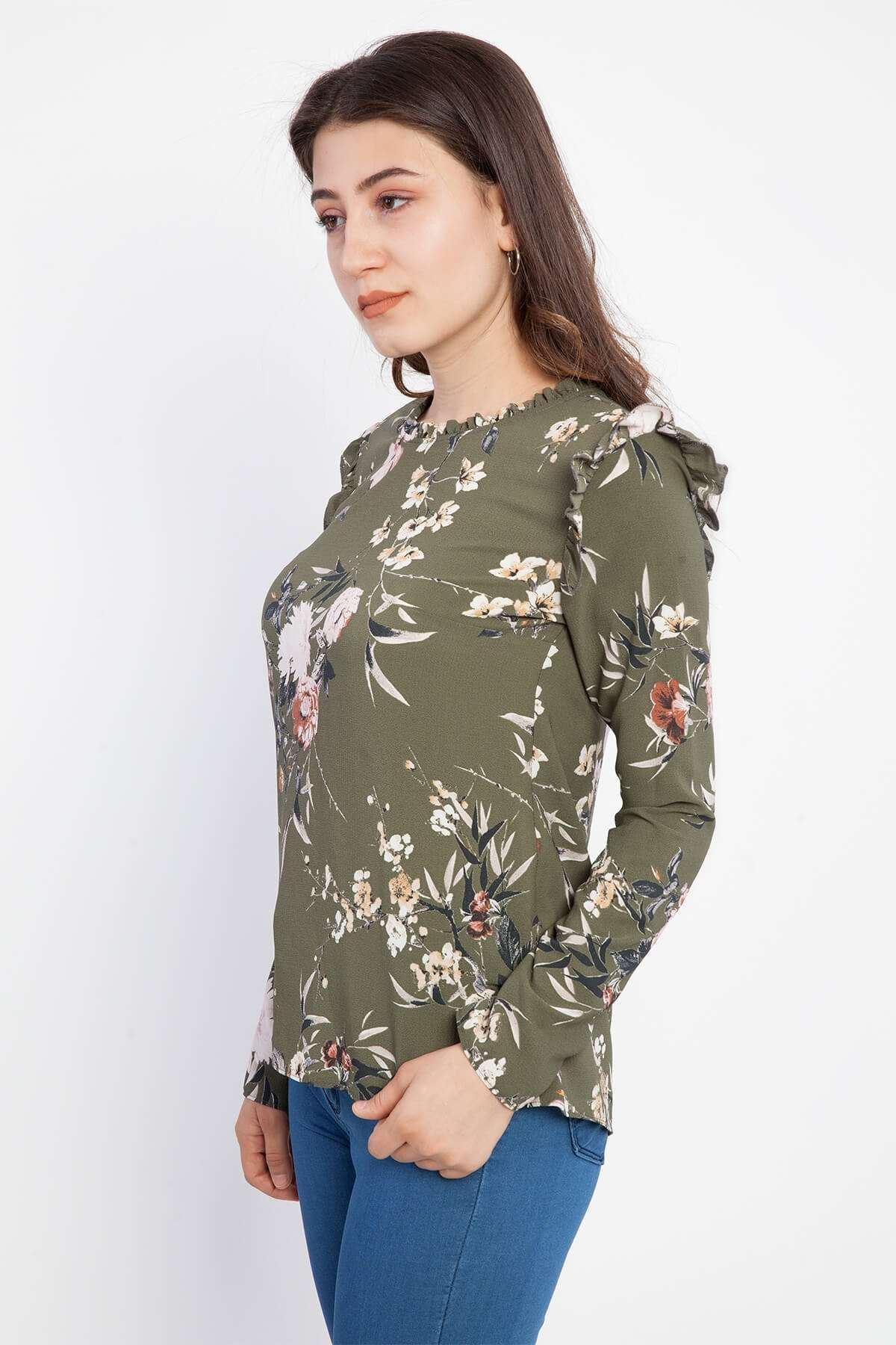 Çiçek Desenli Omuz Fırfır Detaylı Bluz Haki