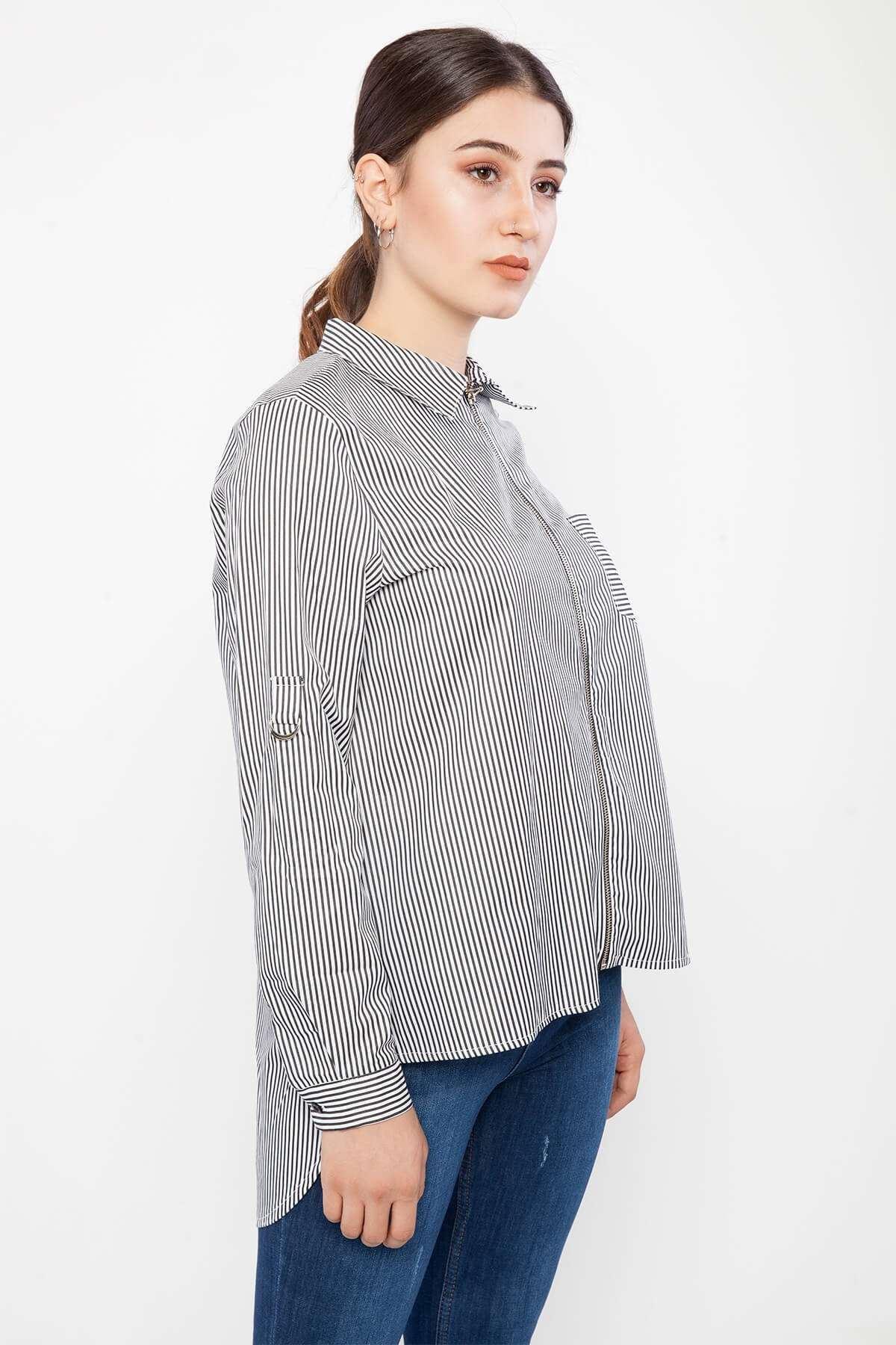 Çizgili Fermuar Detaylı Tunik Gömlek Siyah