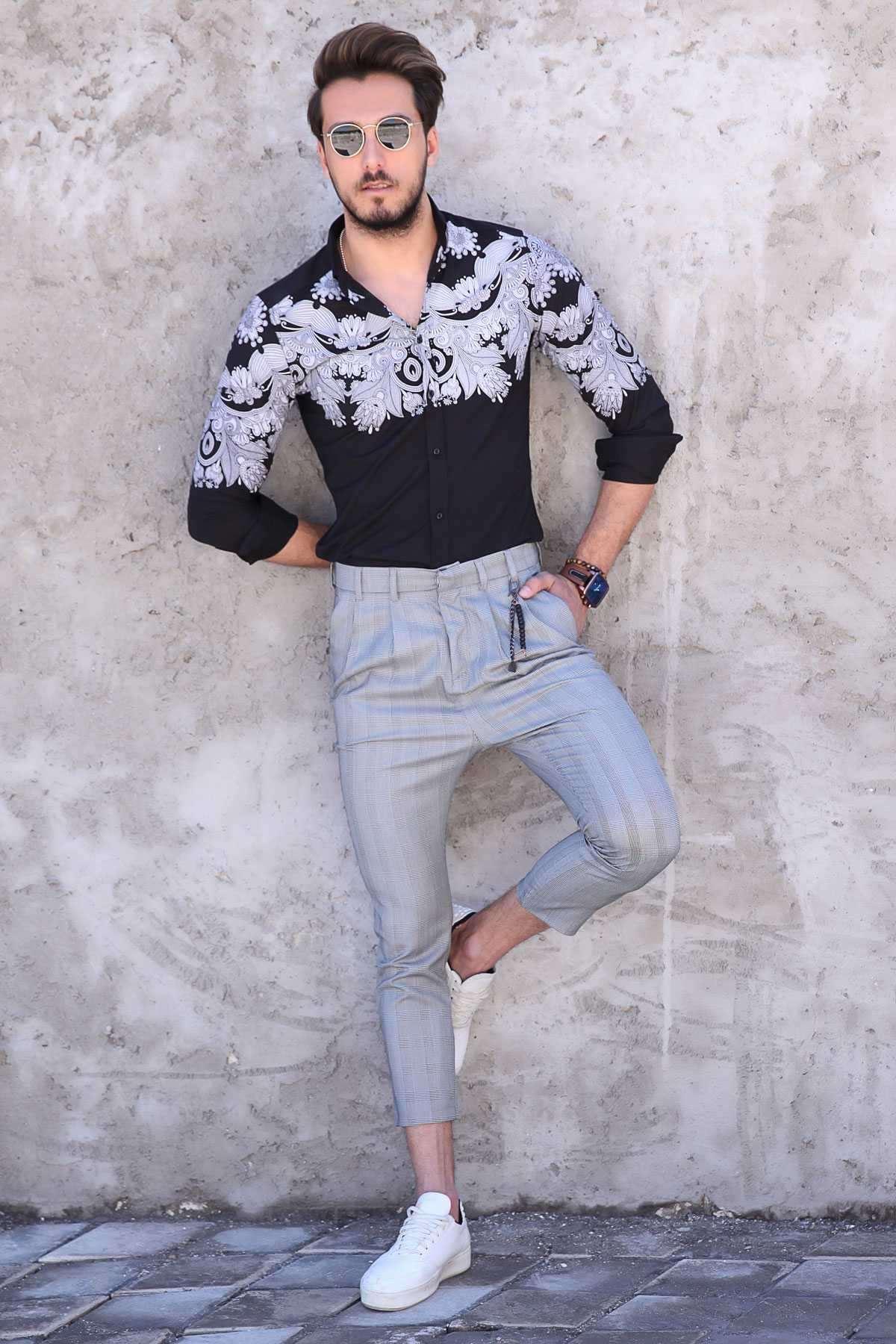 Çizgili Kare Desenli Çift Cep Bilek Boy Pantolon Gri