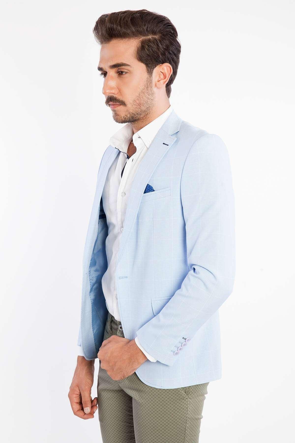 Çizgili Pitikareli Ceket Mavi