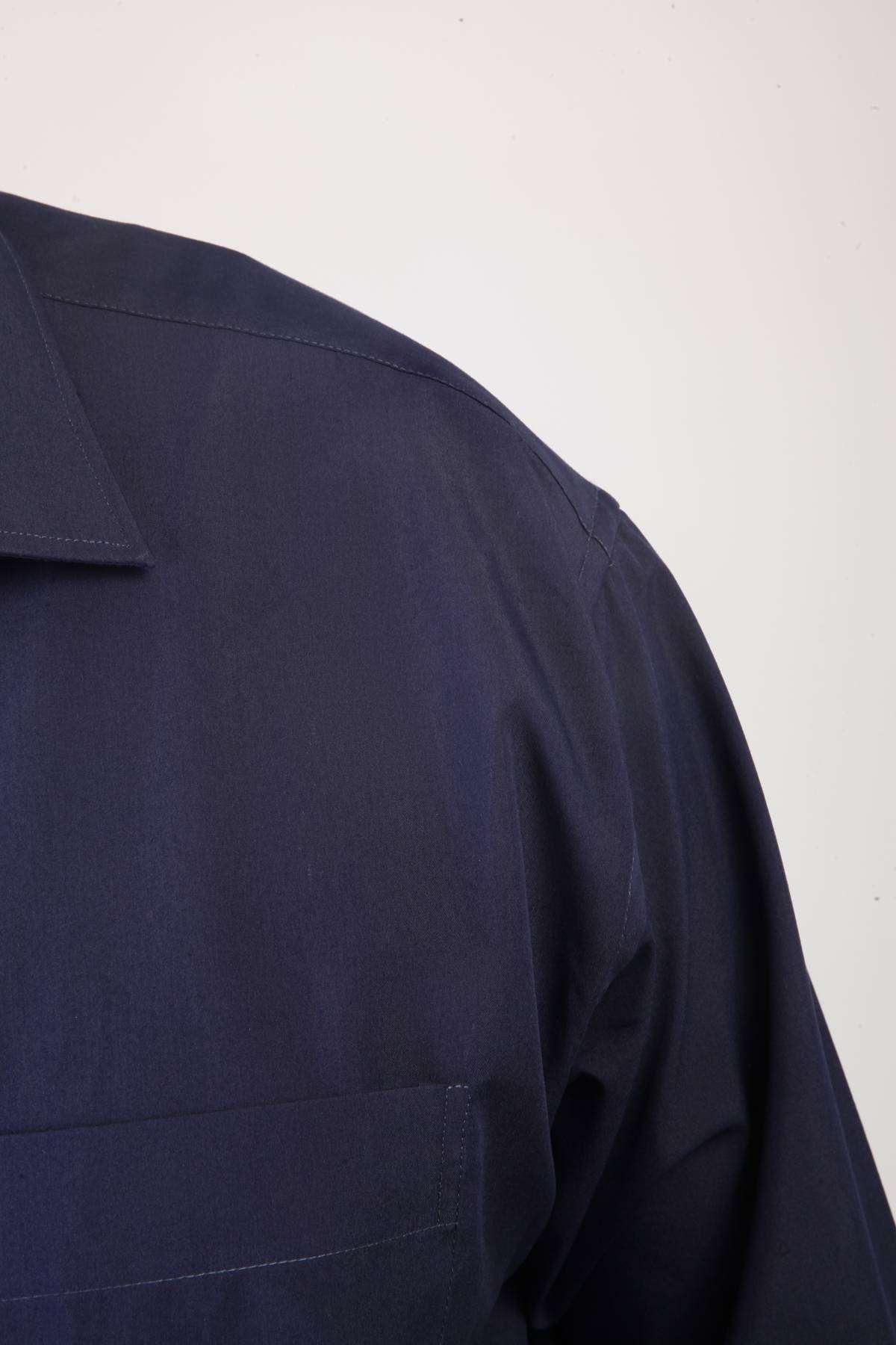Dakron Düz Süper Battal Gömlek Lacivert