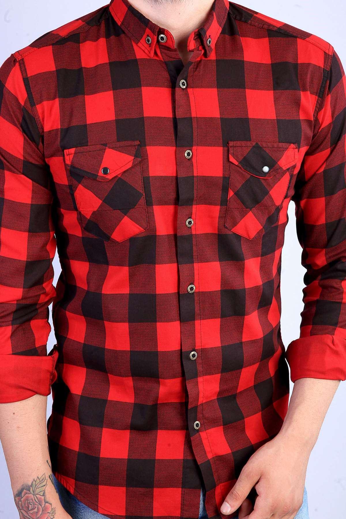 Dama Desenli Çift Cep Slim Fit Gömlek Kırmızı