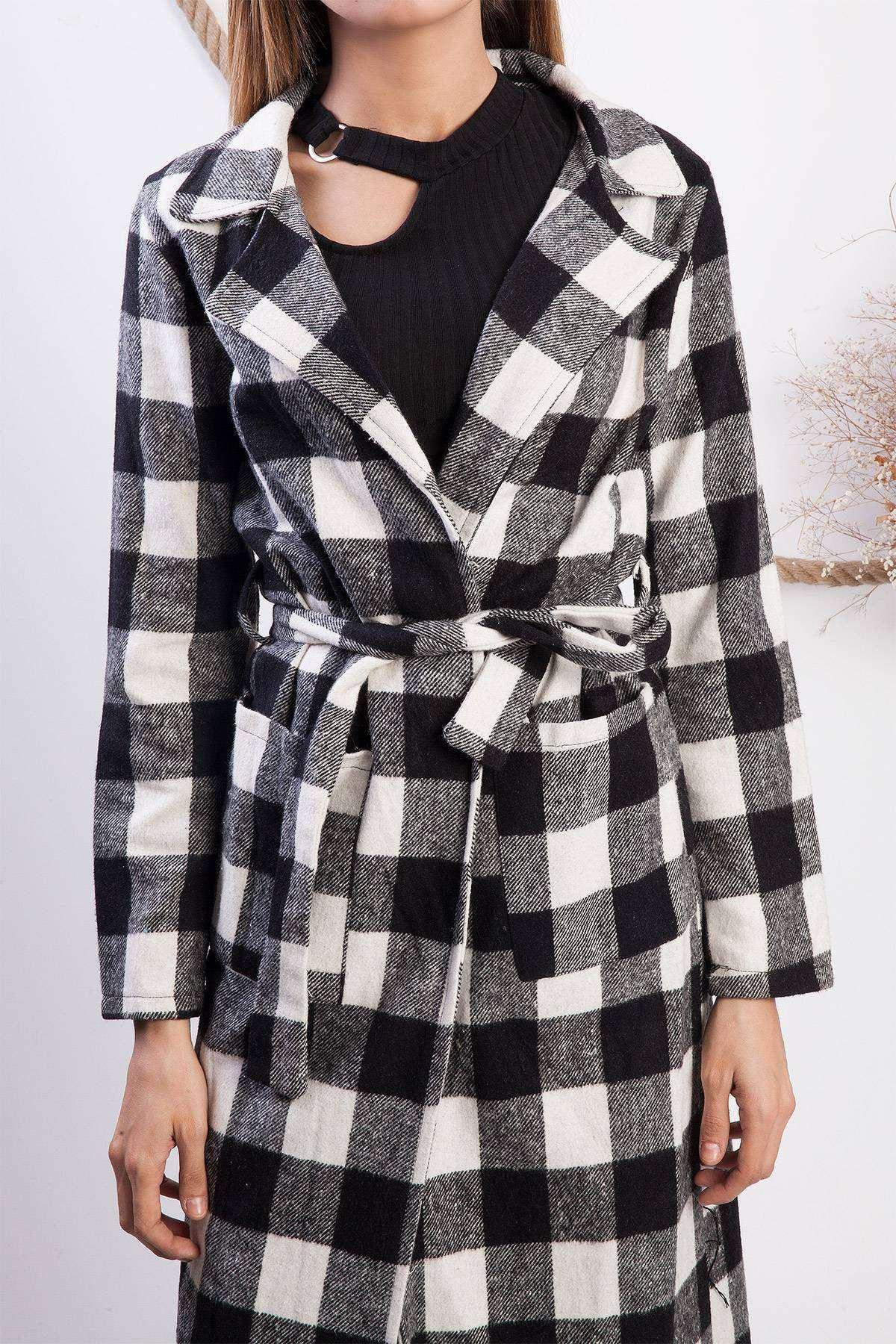 Damalı Kareli Cep Detaylı Bağlamalı Kaşe Trechcoat Siyah-Beyaz