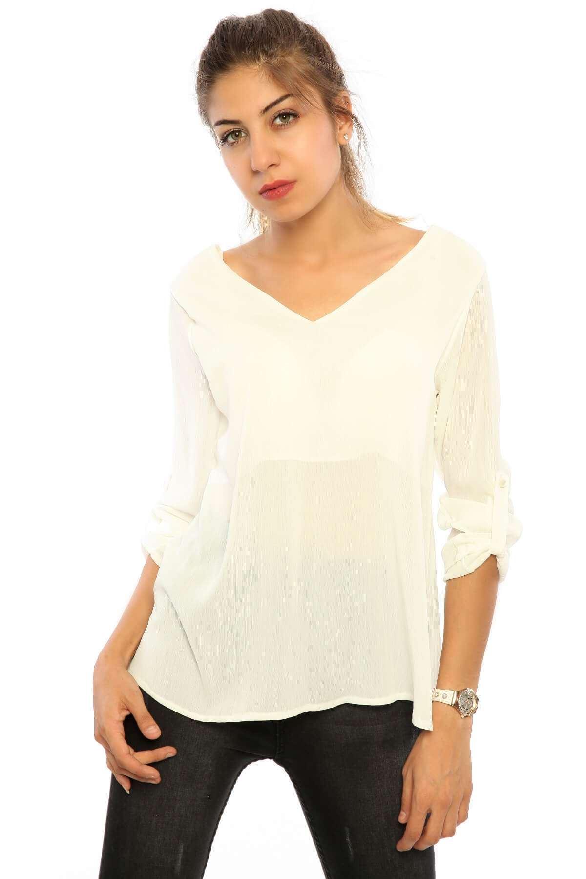Derin V Yaka Astar Detaylı Bluz Beyaz