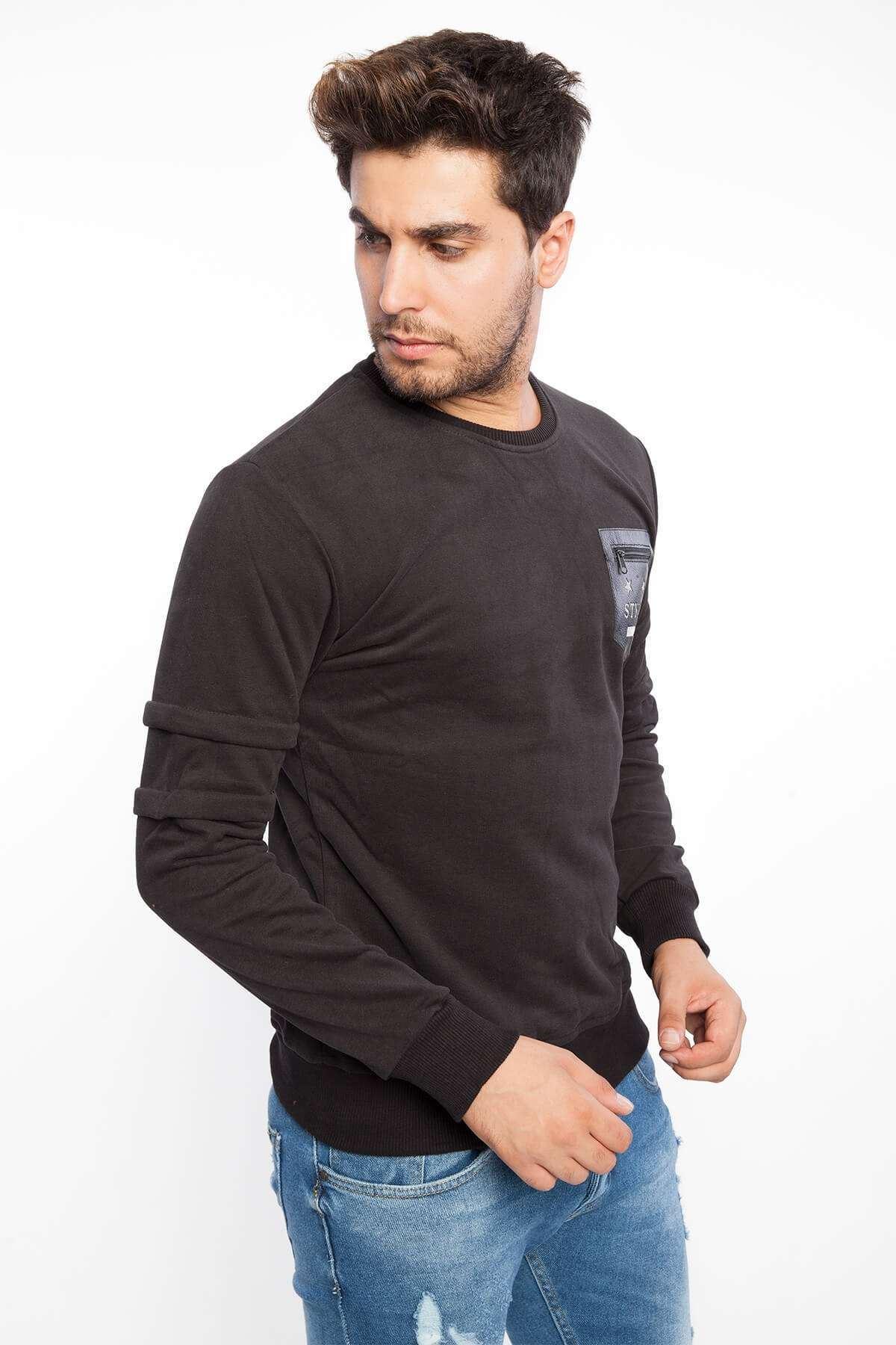 Deri Cepli Kol Detaylı Sweatshirt Siyah