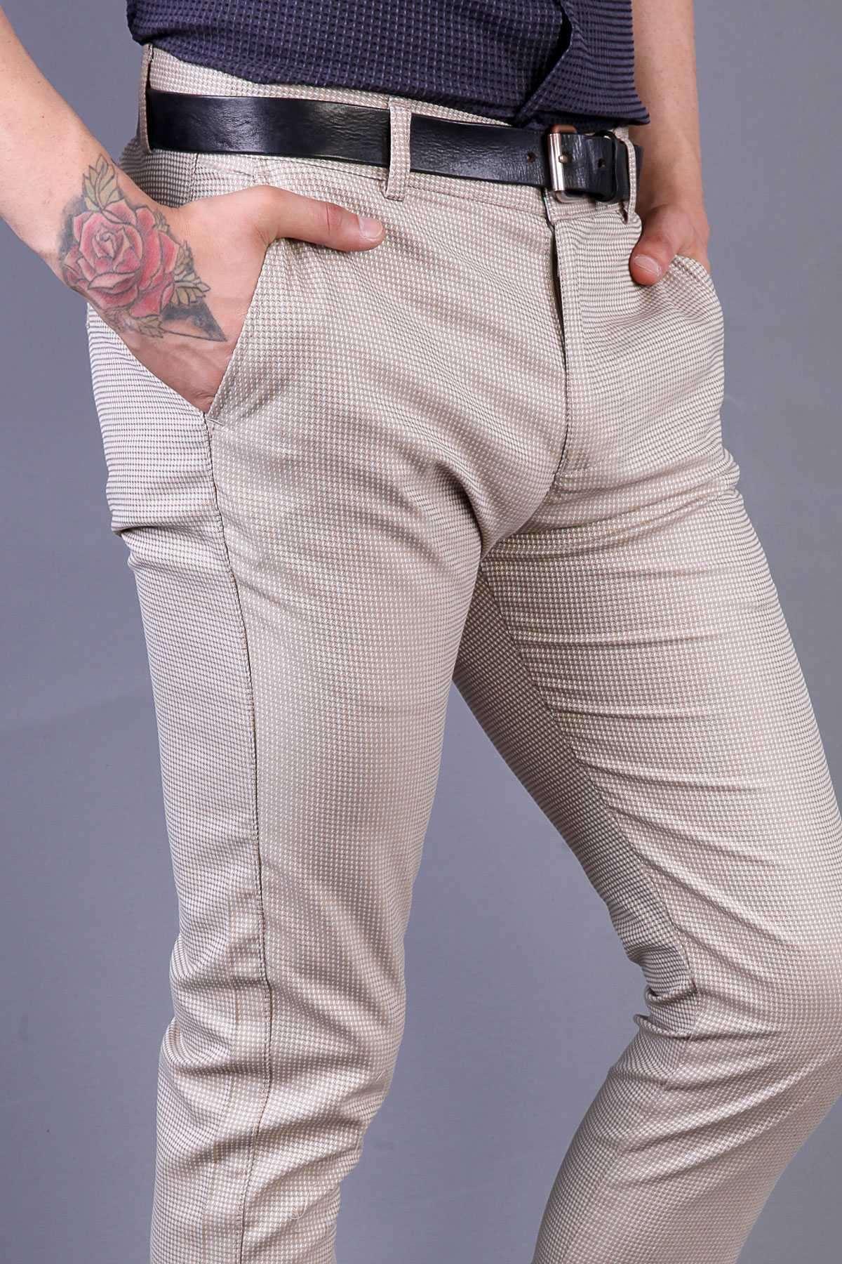 Desenli Yan Cepli Slim Fit Pantolon Bej