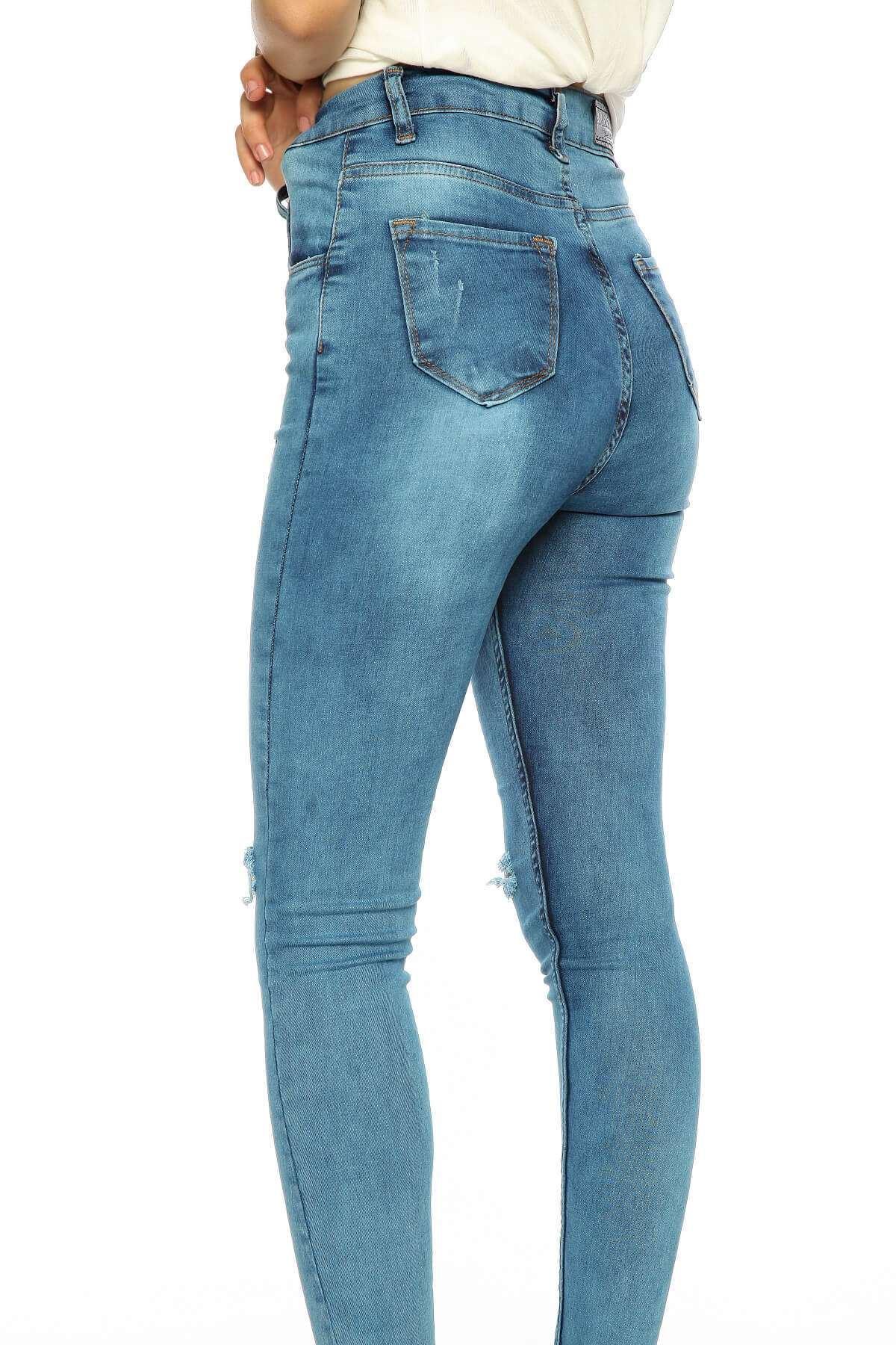 Dizleri Yırtık Püskül Paça Kot Pantolon Mavi