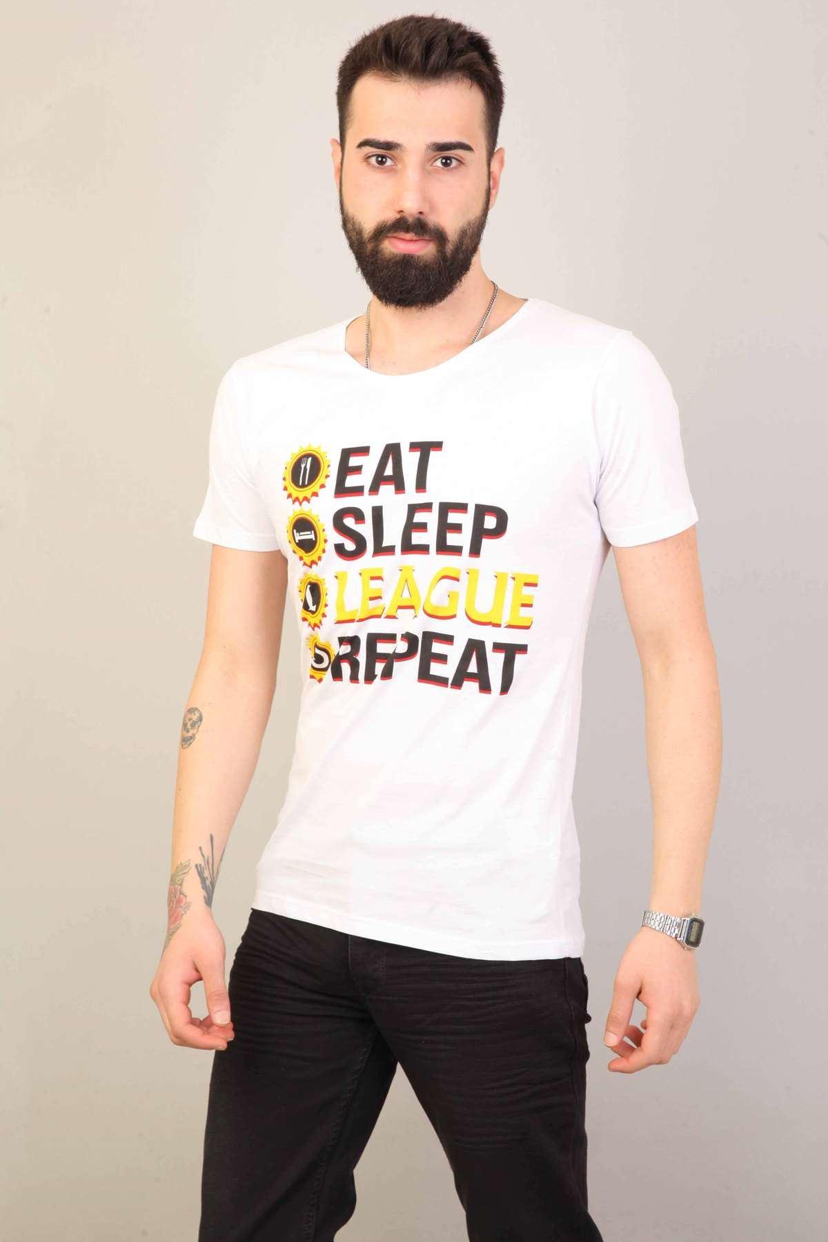 Eat Sleep League Repeat Baskılı Lol Tişört Beyaz