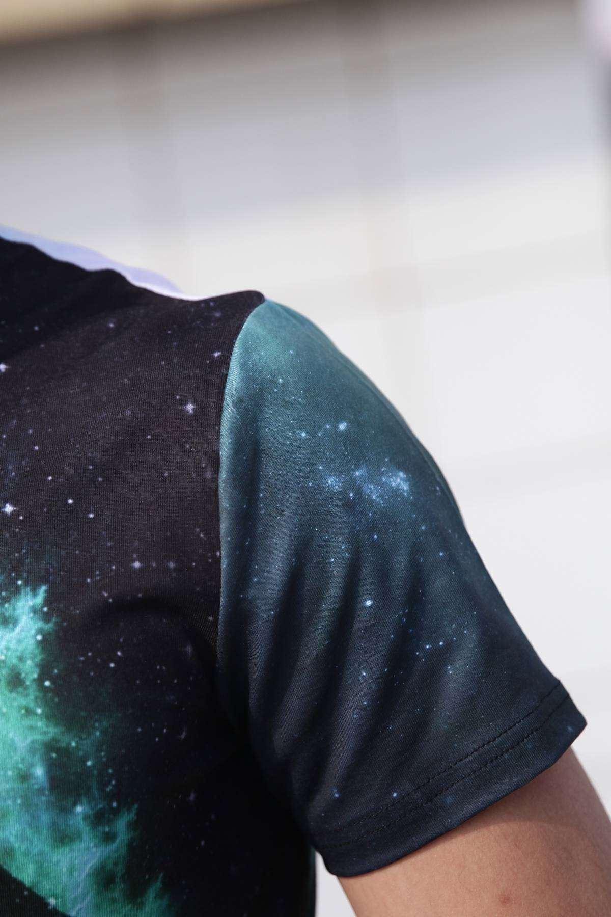 Dj Space Dijital Baskılı Simit Yaka Tişört Siyah-Yeşil