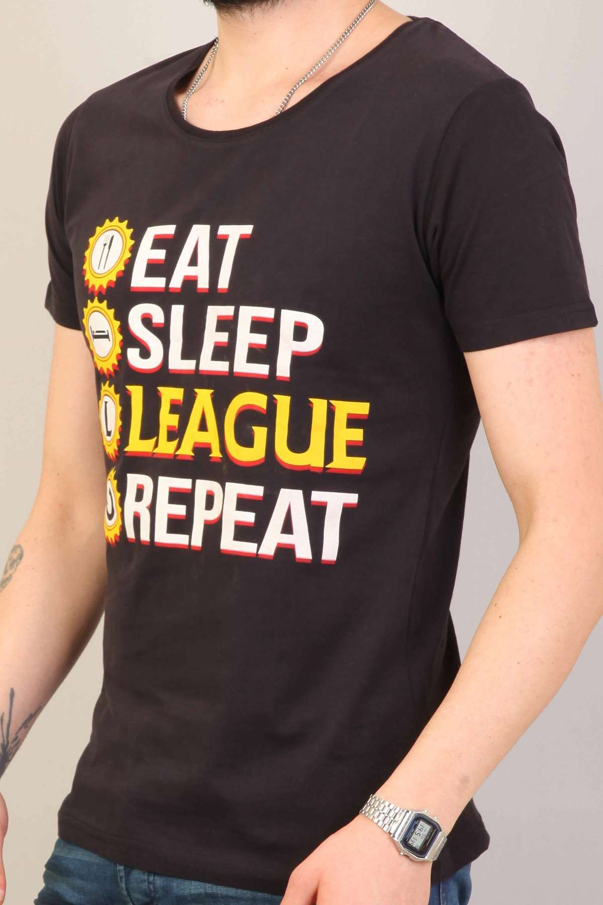 Eat Sleep League Repeat Baskılı Lol Tişört Siyah