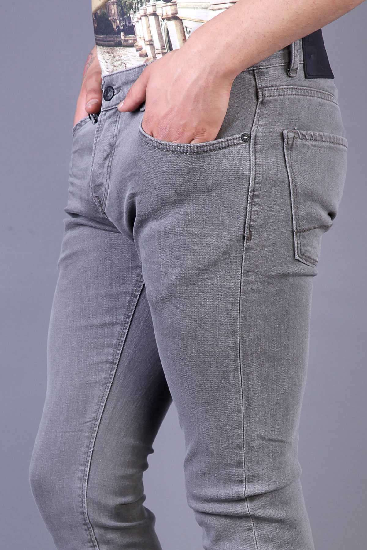 Eskitme Slim Fit Kot Pantolon Gri