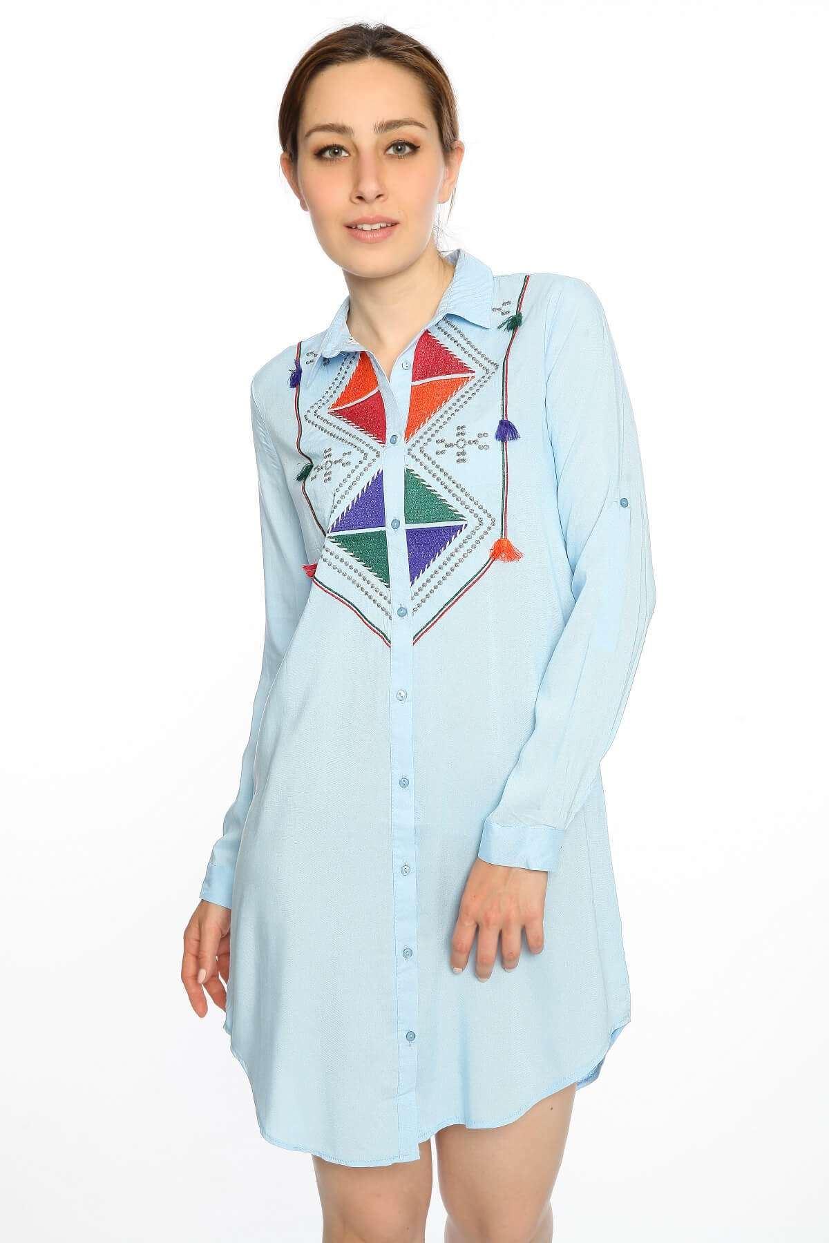 Etnik Desen Uzun Kol Tunik Gömlek Mavi