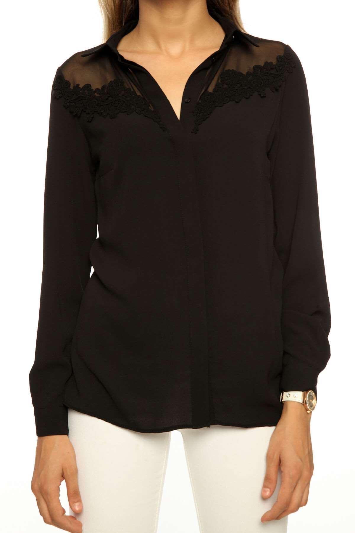 Fileli Yakası Dantel Detaylı Bluz Siyah