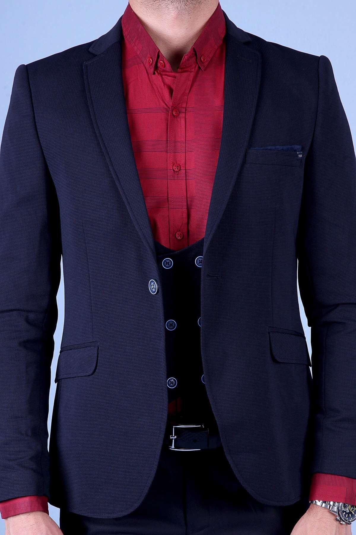 Gizli Kare Desenli İçi Astarlı Slim Fit Ceket Koyu Lacivert
