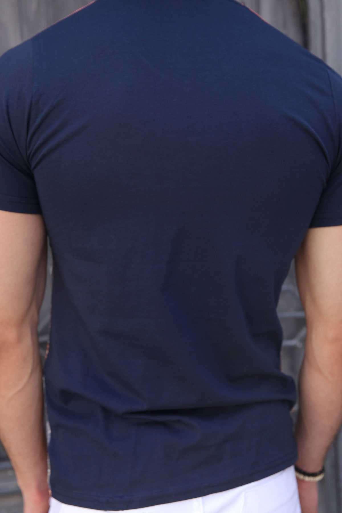 Eyfel Baskı  V Yaka Dijital Tişört Lacivert