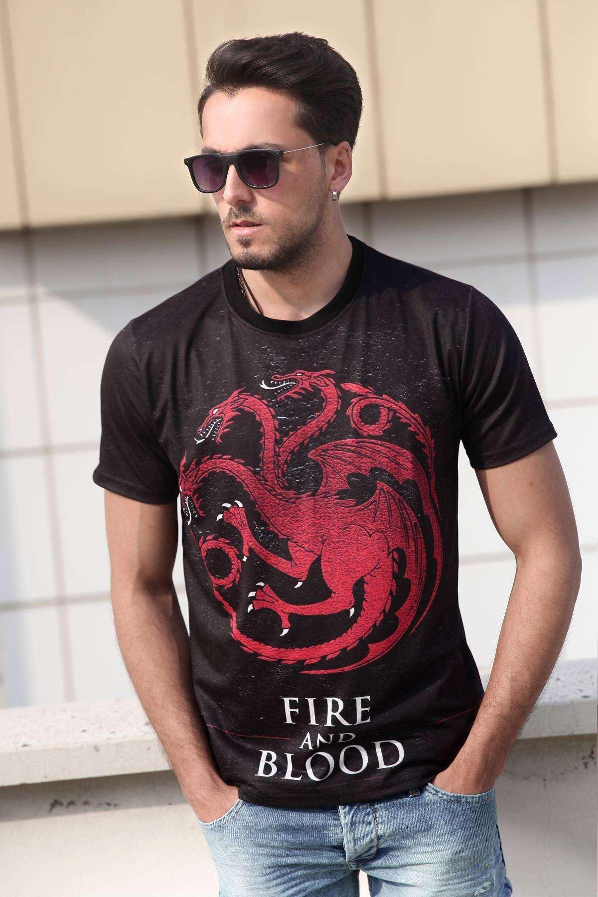 Game Of Thrones Targaryen Simit Yaka Unisex Tişört Siyah