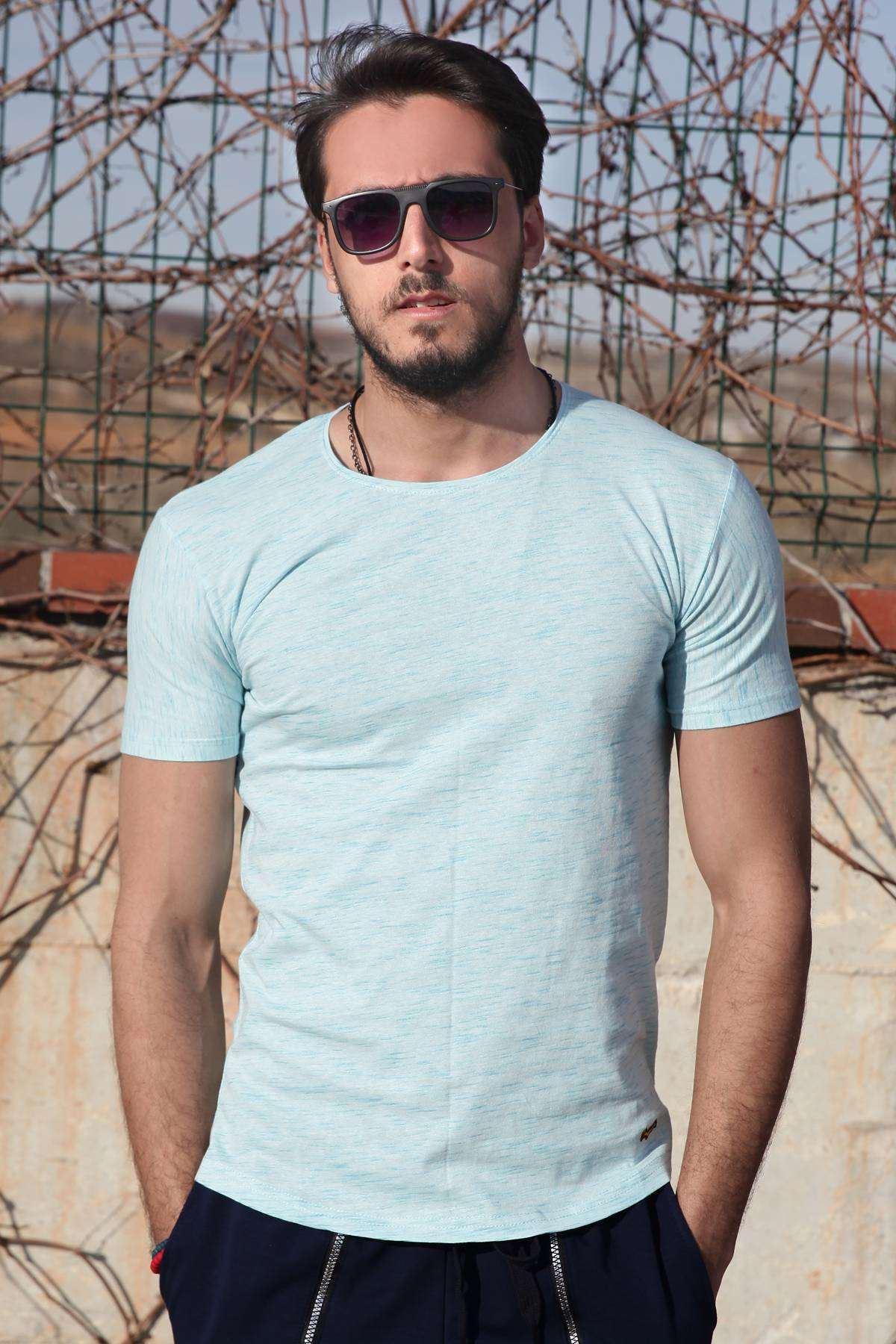 Flamlı Sıfır Yaka Slim Fit Tişört B.Mavi