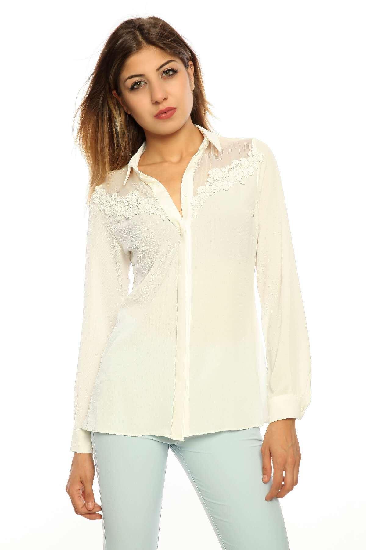 Fileli Yakası Dantel Detaylı Bluz Beyaz