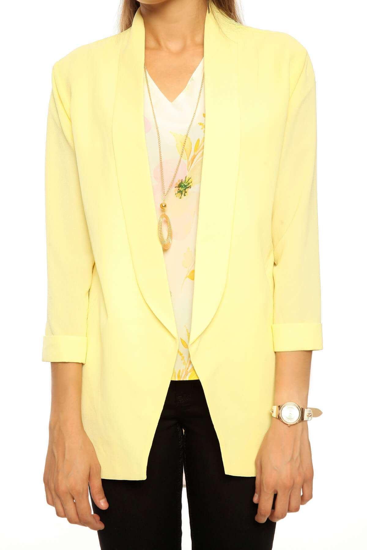 Ges Kol Cepli Crep Ceket Sarı