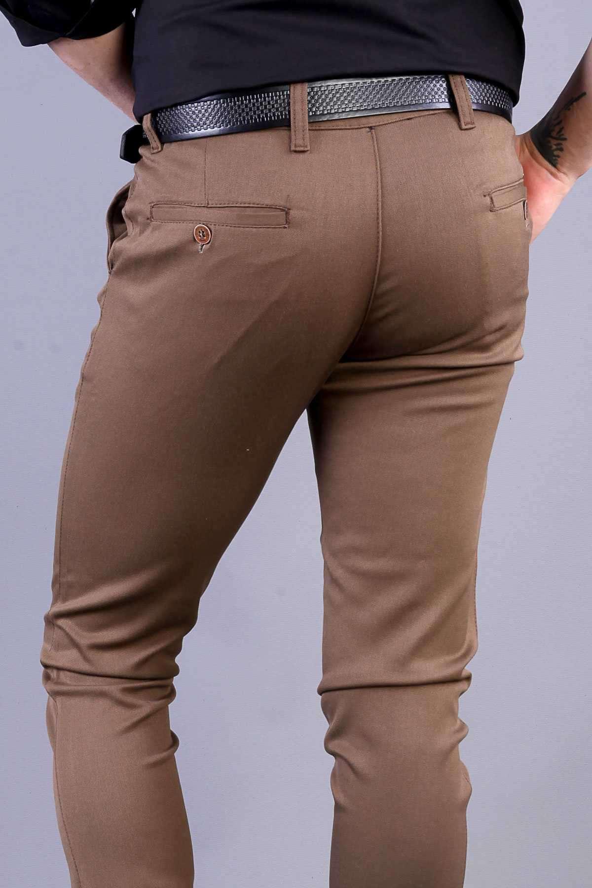 Gabardin Yan Cepli Slim Fit Pantolon Kahve