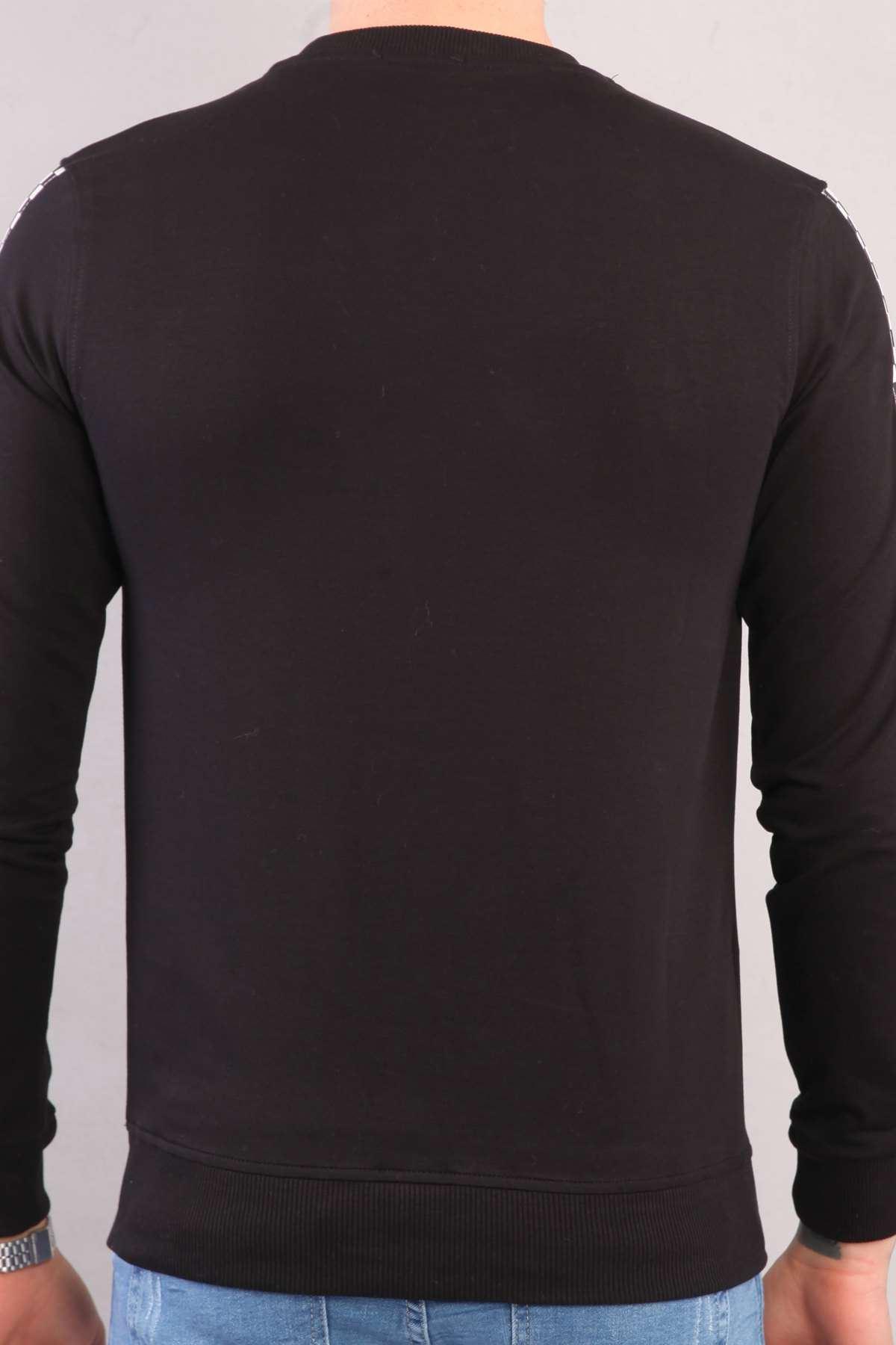 Göğüs Black Whıte Yazılı Kollar Şeritli Sweatshırt Siyah