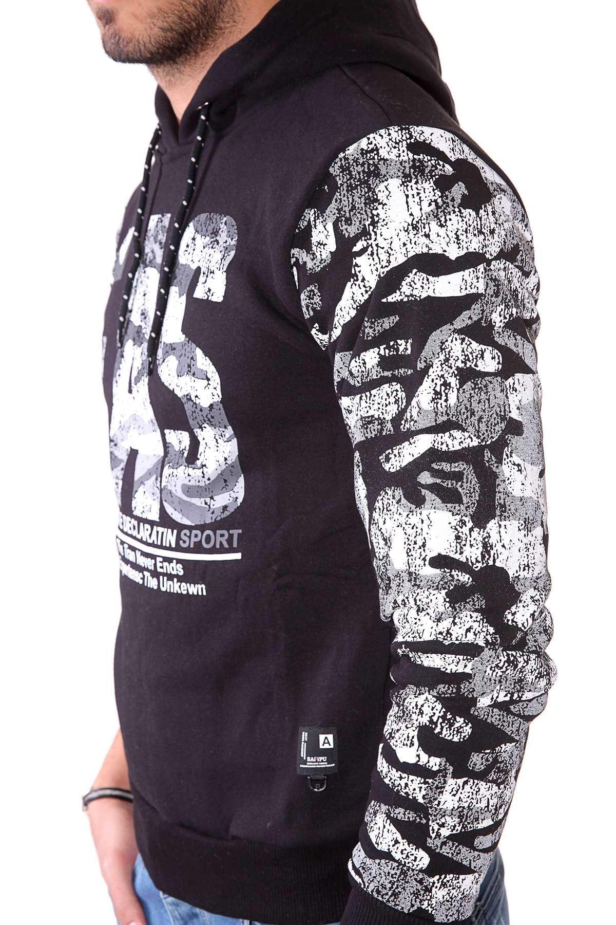 Göğüs Eas Baskılı Kollar Kamuflaj Desenli Kapşonlu Sweatshirt Siyah