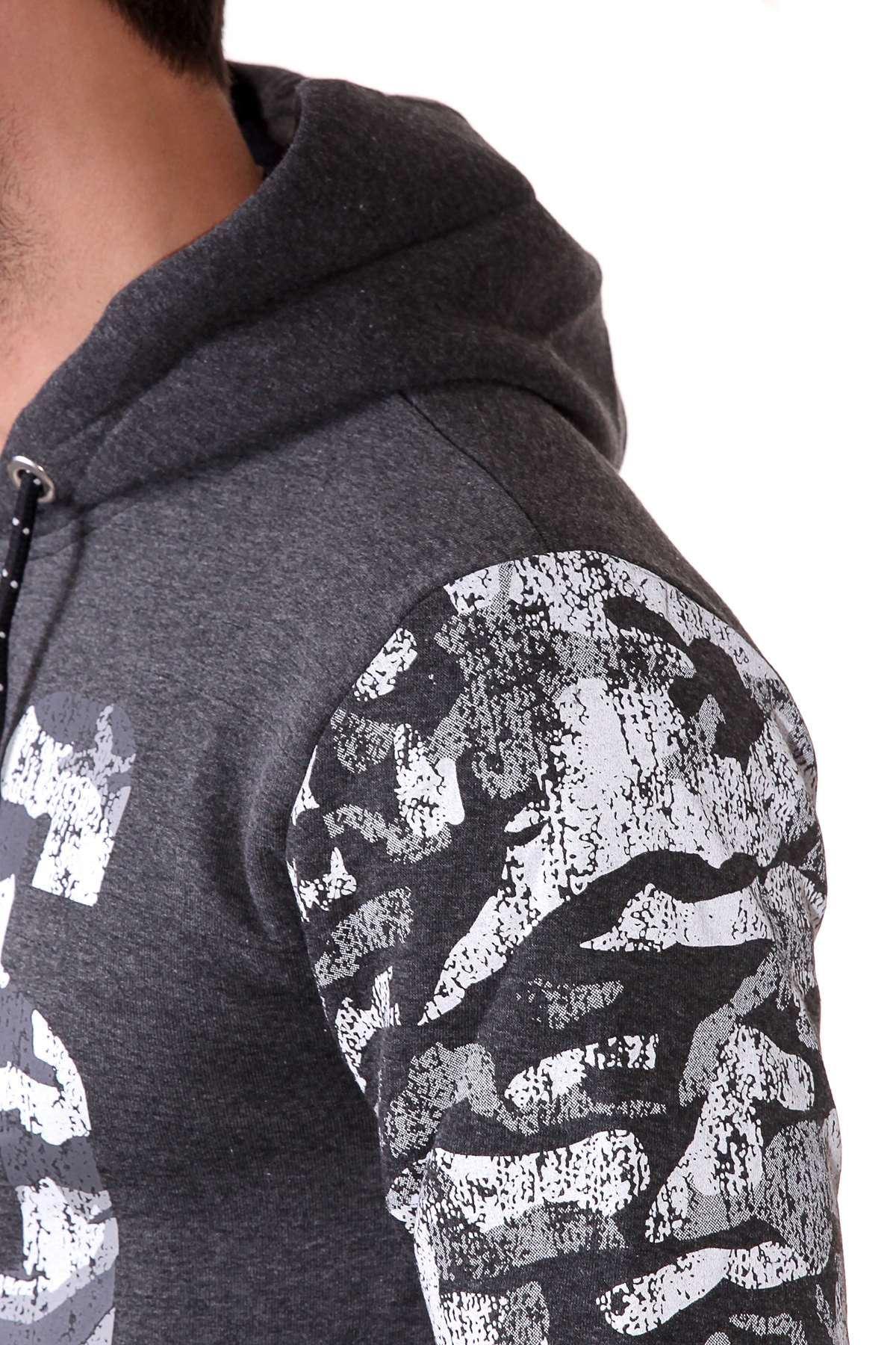 Göğüs Eas Baskılı Kollar Kamuflaj Desenli Kapşonlu Sweatshirt Antrasit