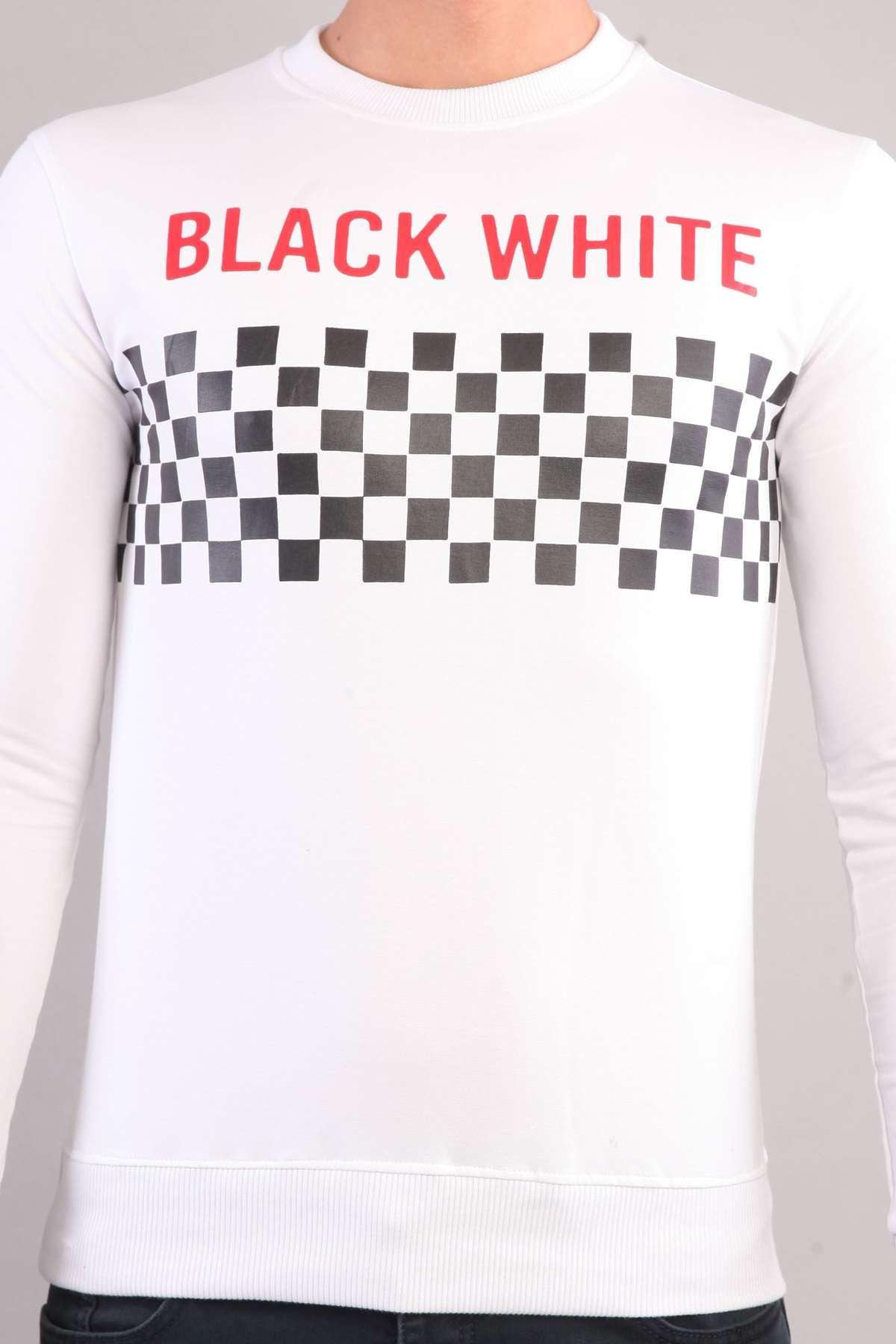 Göğüs Black Whıte Yazılı Kollar Şeritli Sweatshırt Beyaz