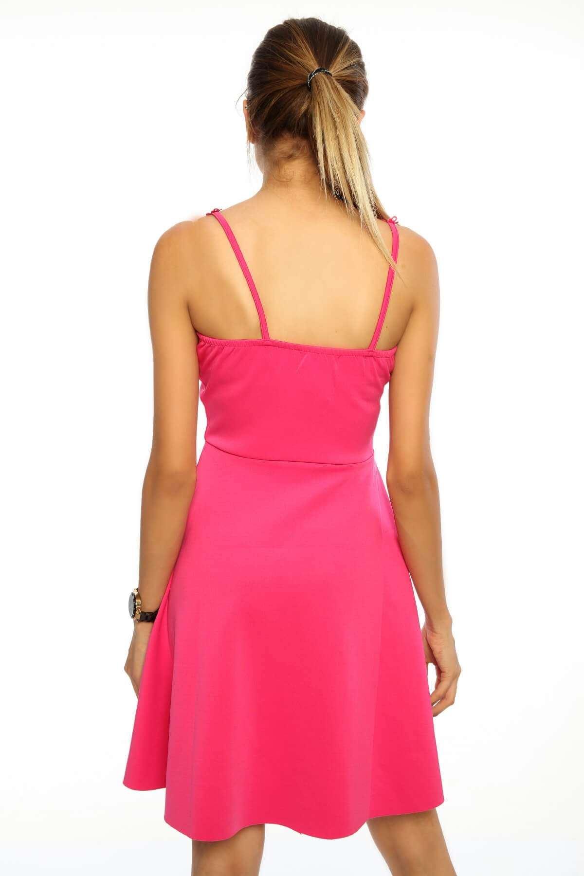 Göğüs Dantel Detaylı Askılı Elbise Pempe