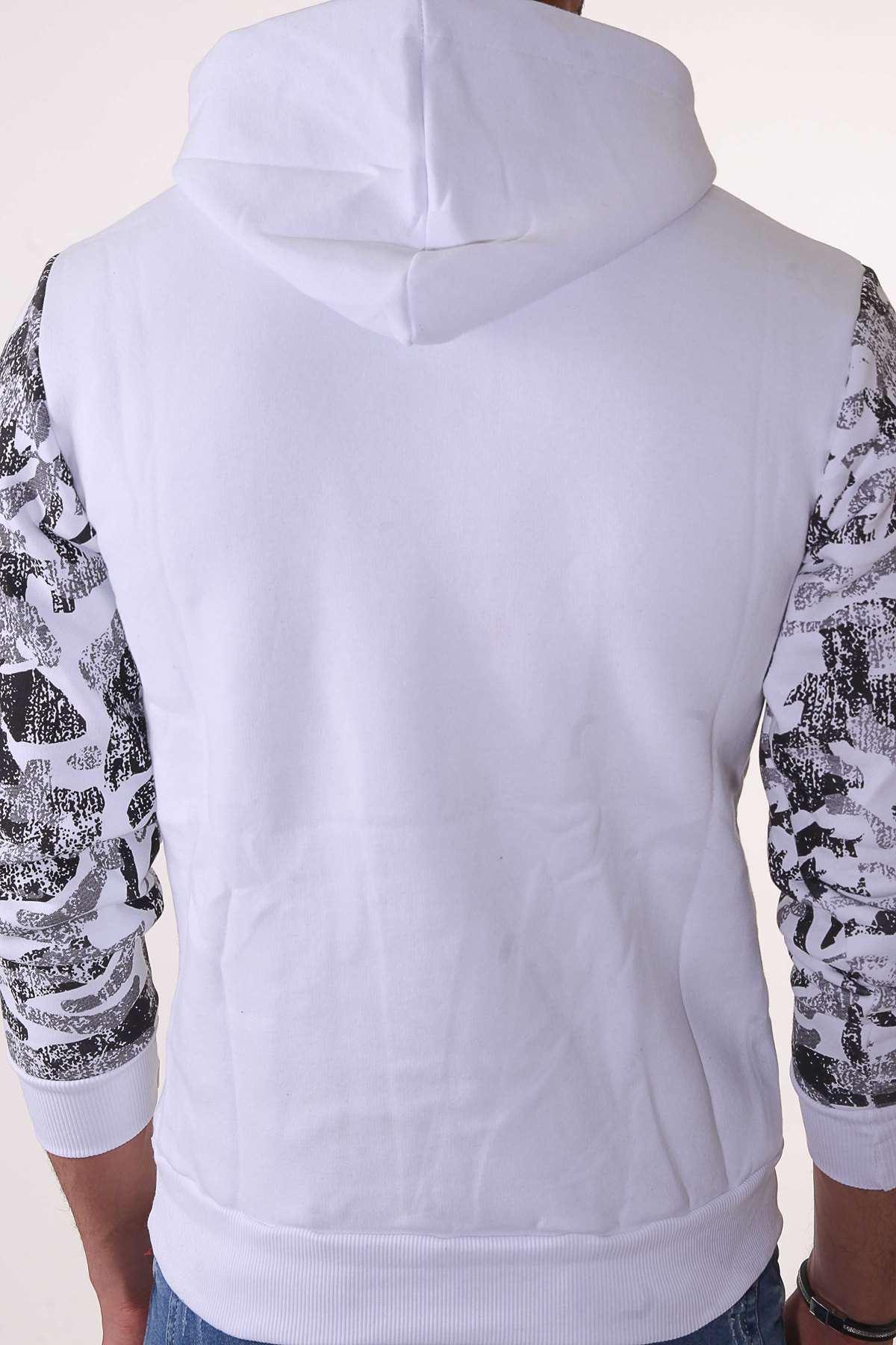 Göğüs Eas Baskılı Kollar Kamuflaj Desenli Kapşonlu Sweatshirt Beyaz