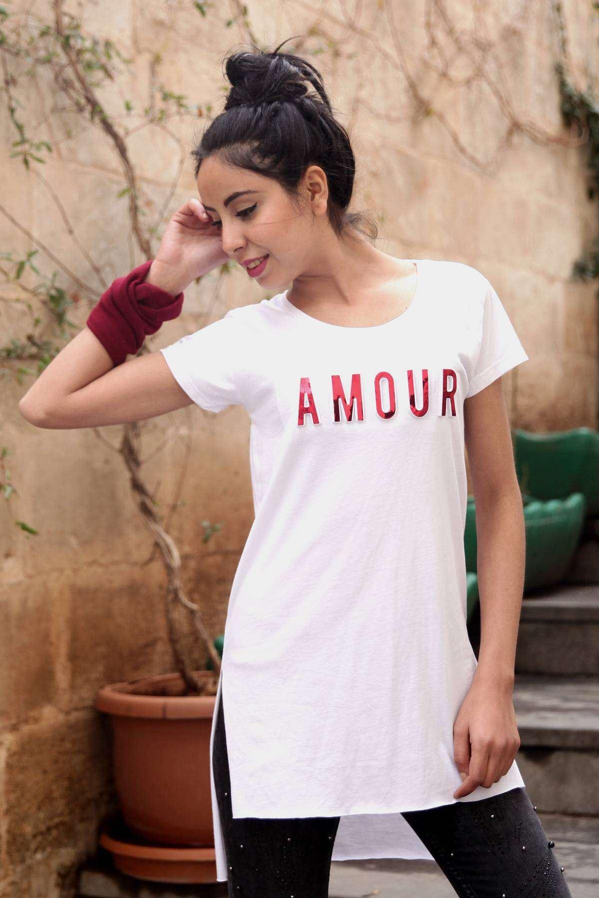 Göğüs Kabartma Amour Baskı Detaylı Tunik Beyaz