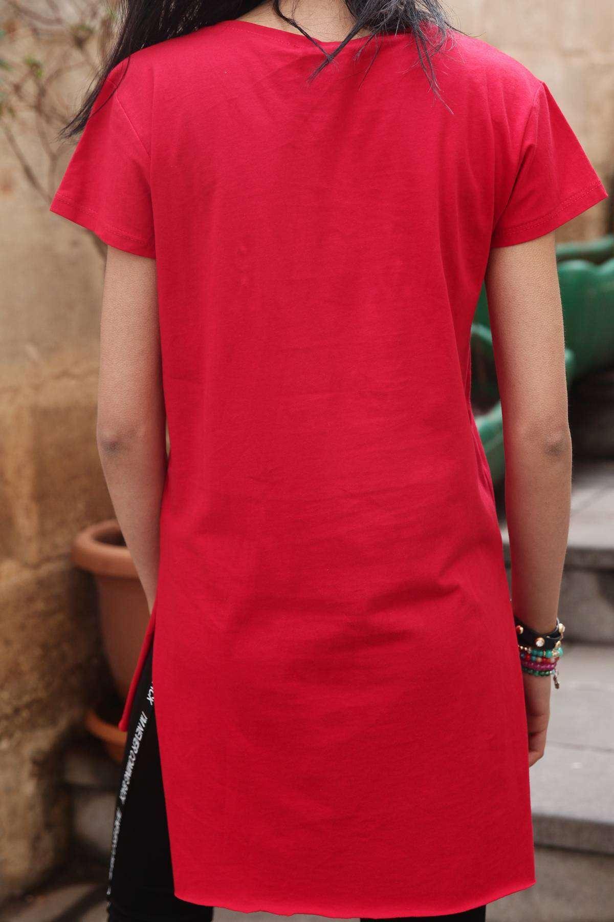 Göğüs Kabartma Amour Baskı Detaylı Tunik Kırmızı
