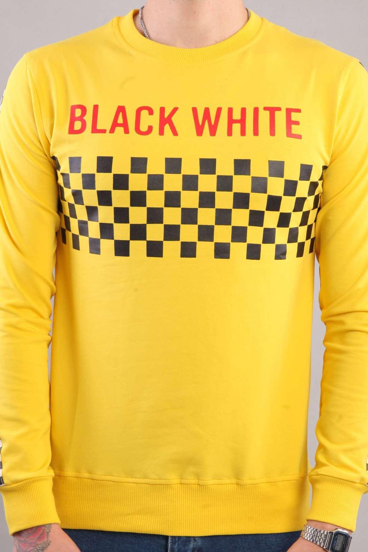 Göğüs Black Whıte Yazılı Kollar Şeritli Sweatshırt Sarı