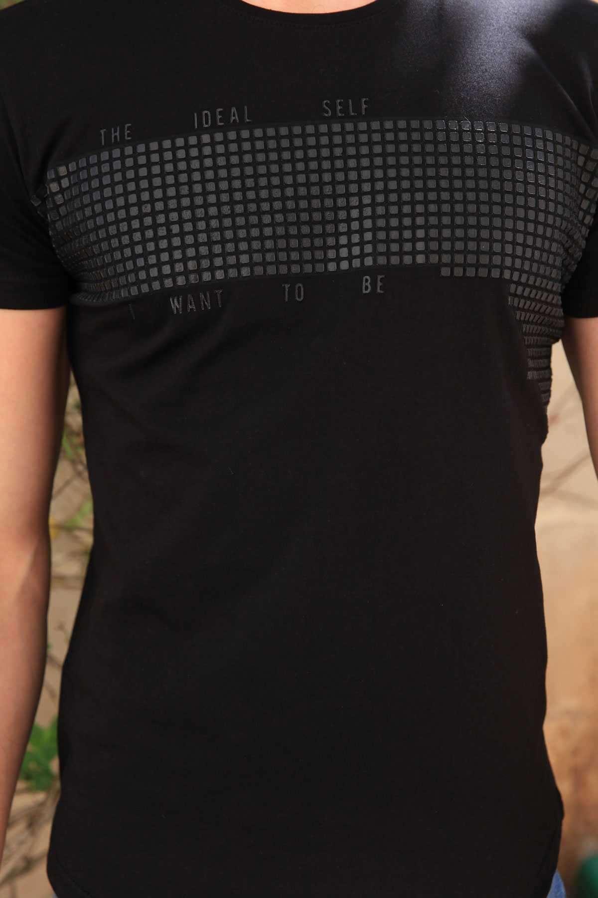 Göğüs Kabartma Baskılı Sıfır Yaka  Slim Fit Tişört Siyah