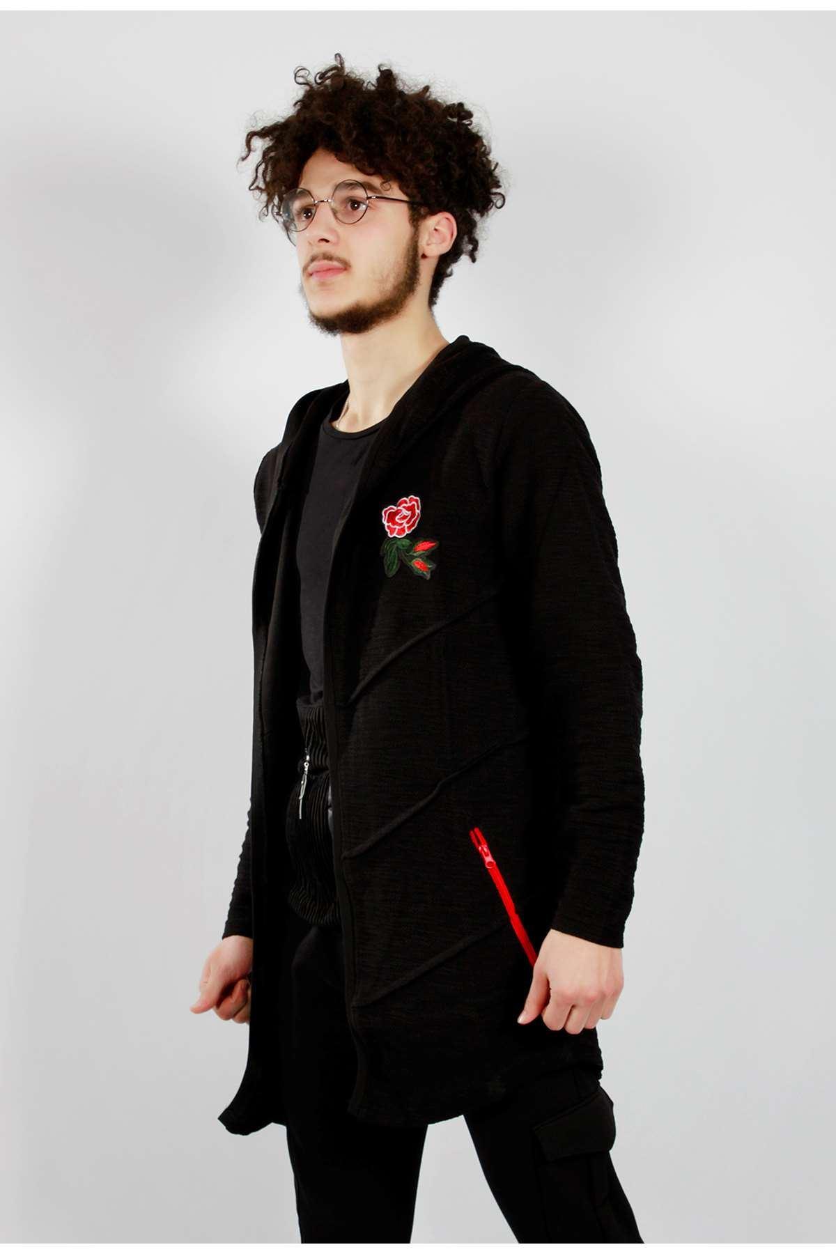 Göğüs Çiçek Armalı Kapşonlu Panço Sweatshirt Siyah