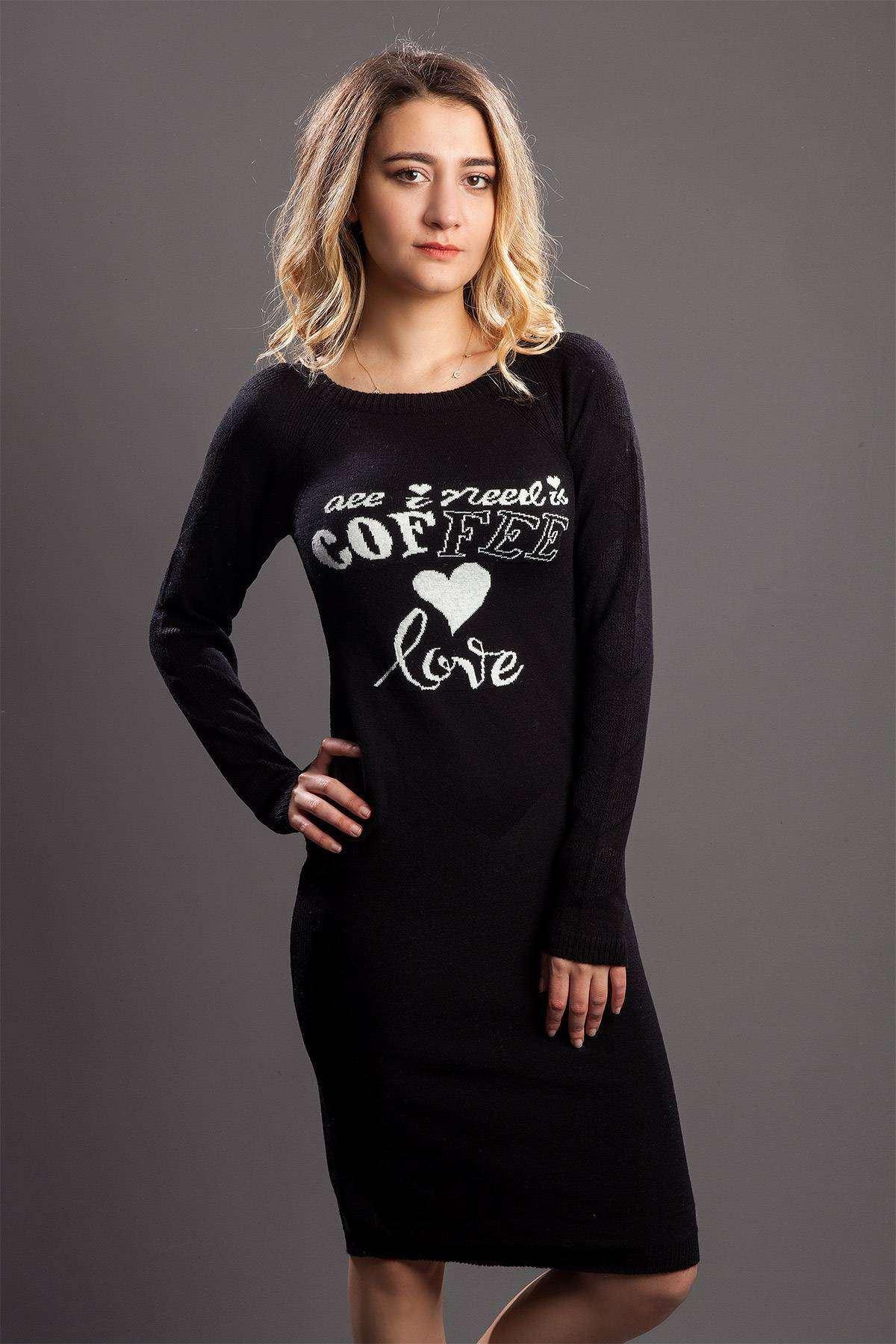 Göğüs Kalp Yazı Baskı Detaylı Tunik Siyah