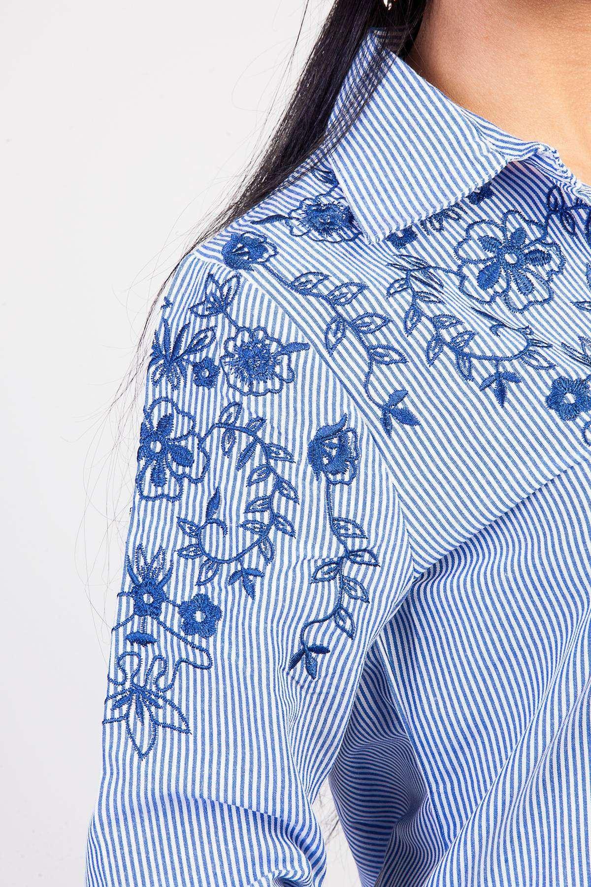 Göğüs Kol Çiçek Nakış İşleme Detaylı Çizgili Gömlek Mavi