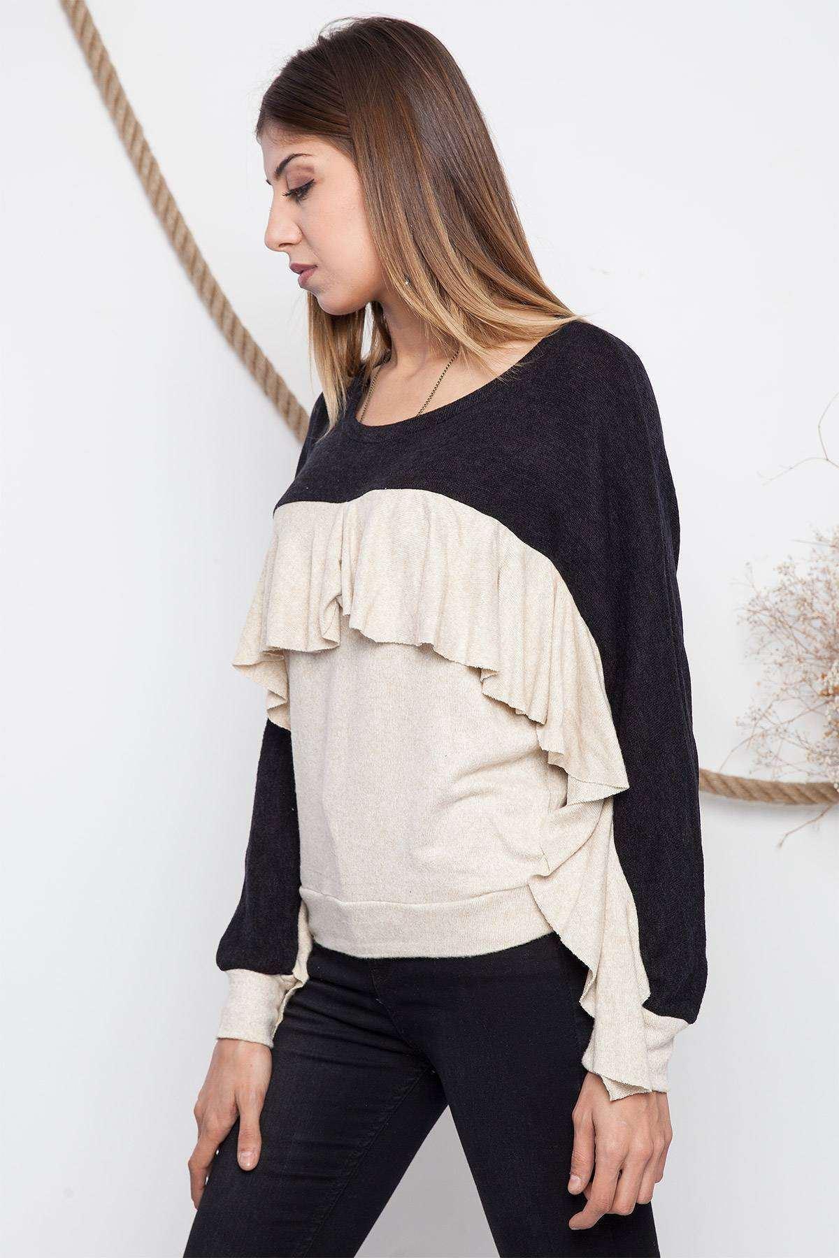 Göğüs Kol Fırfır Detaylı İki Renk Bluz Syh-Krem