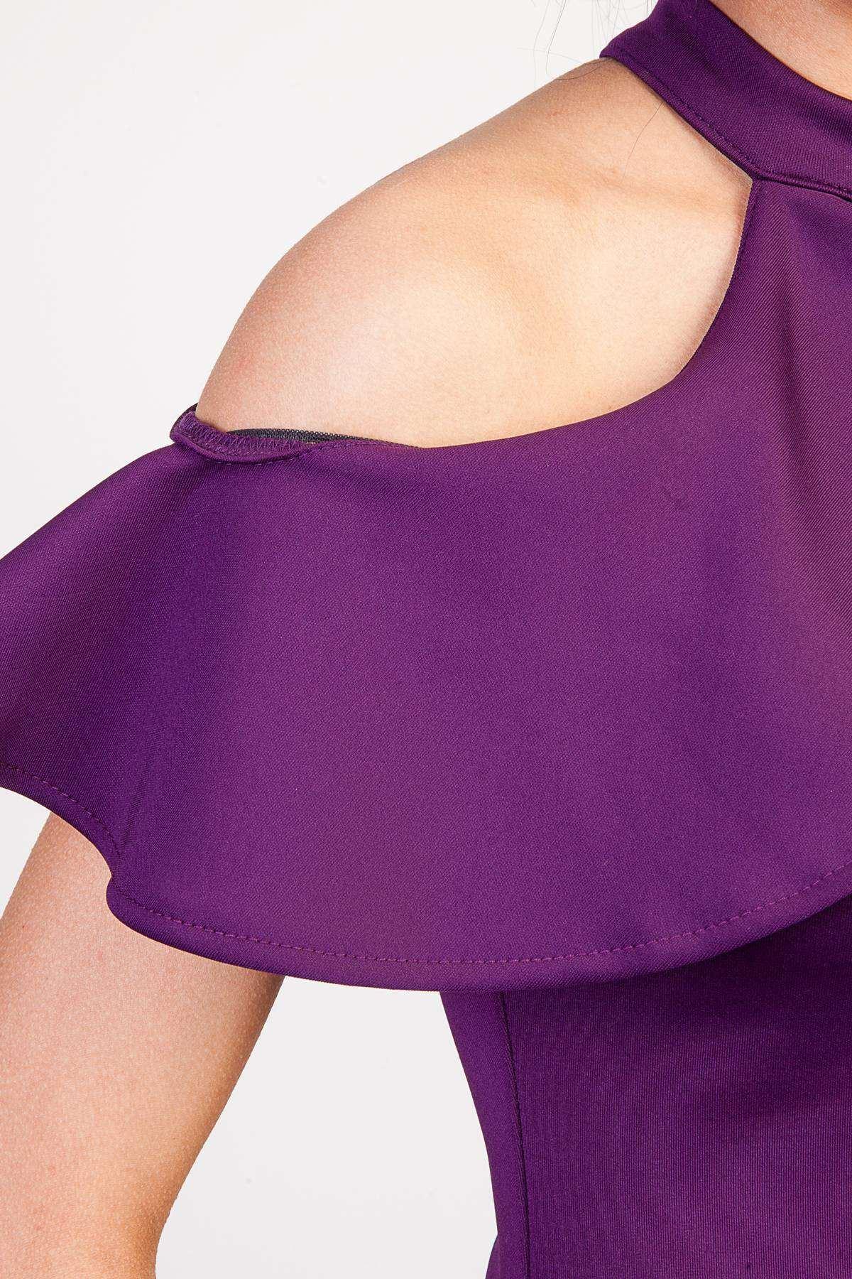 Göğüs Ve Omuz Fırfır Detaylı Tasma Yaka Uzun Elbise Mor