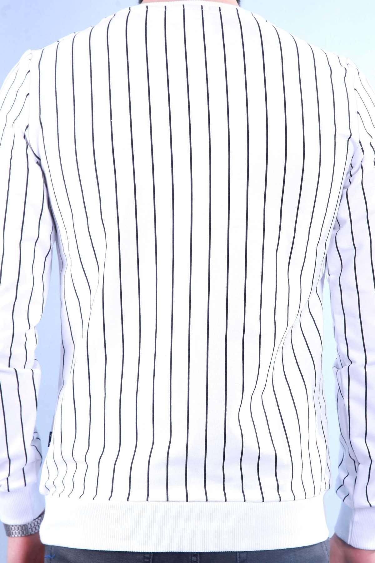 Göğüs Nakışlı Dik Çizgili Sweatshırt Beyaz