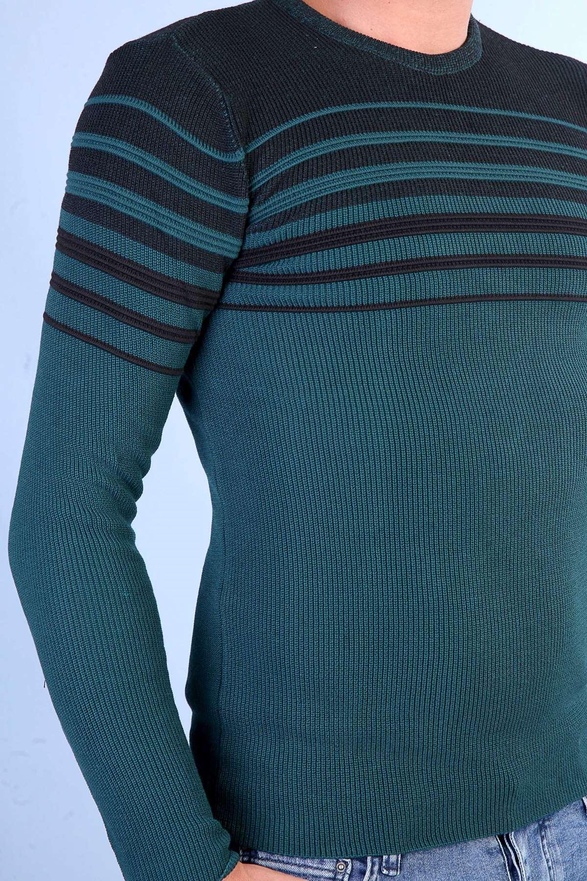 Göğüs Ve Kol Şerit Desenli Triko Yeşil