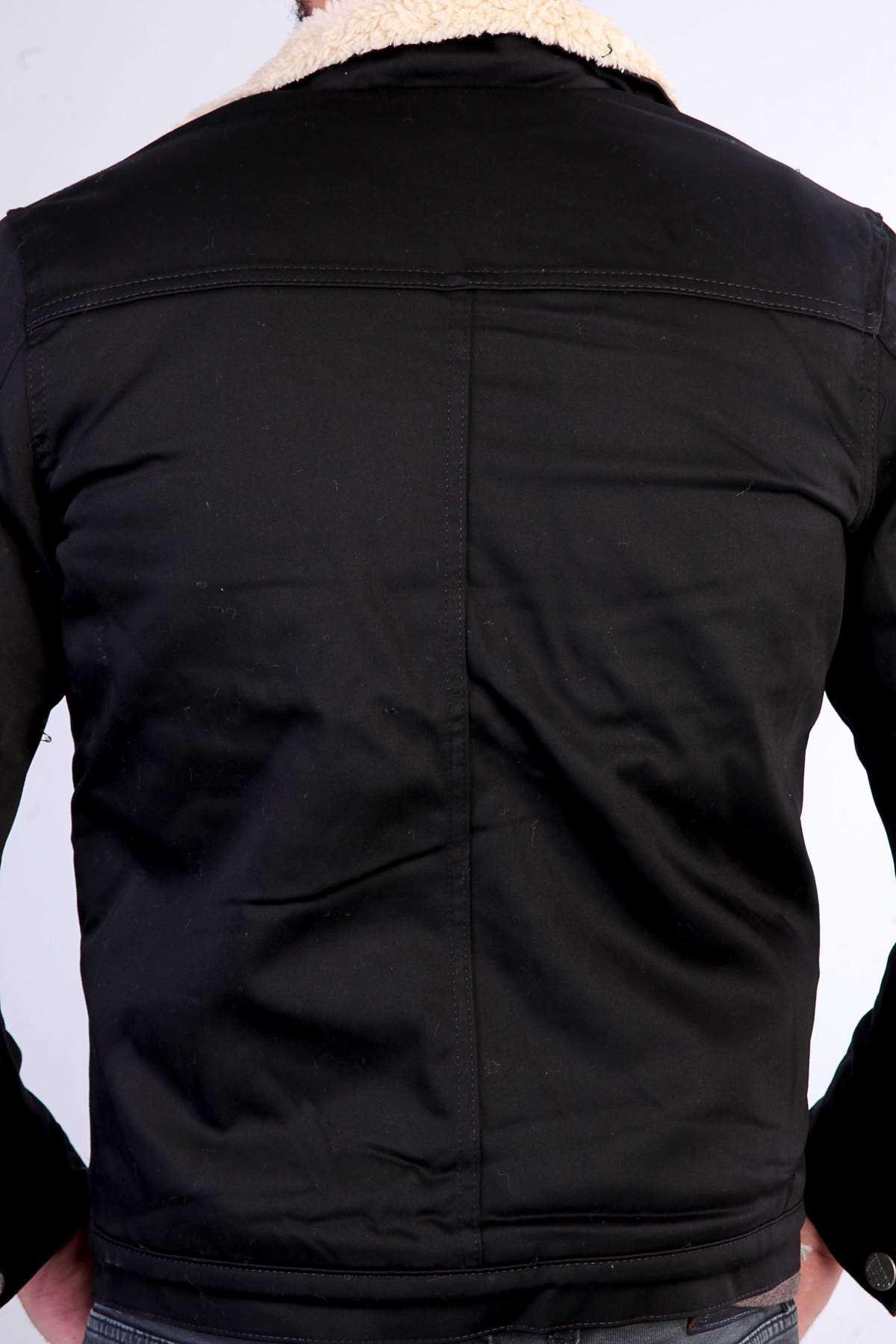 İçi Ve Yaka Kürklü Cep Düğmeli Mont Siyah