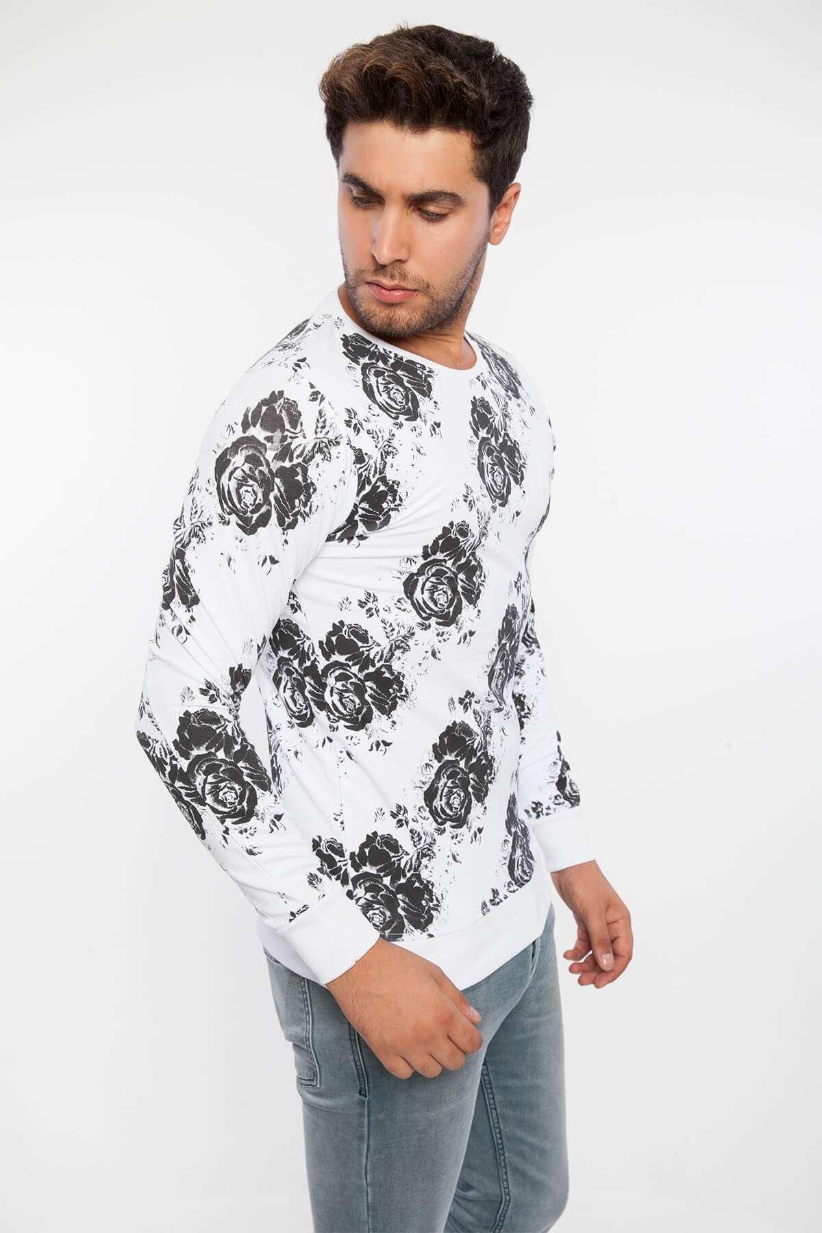 Gül Desenli Sıfır Yaka Sweatshirt Beyaz