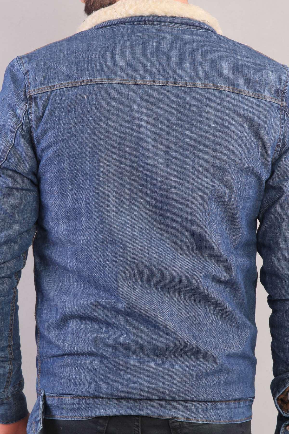 İçi Kürklü Göğüs Çift Cepli Kot Mont Koyu-Mavi