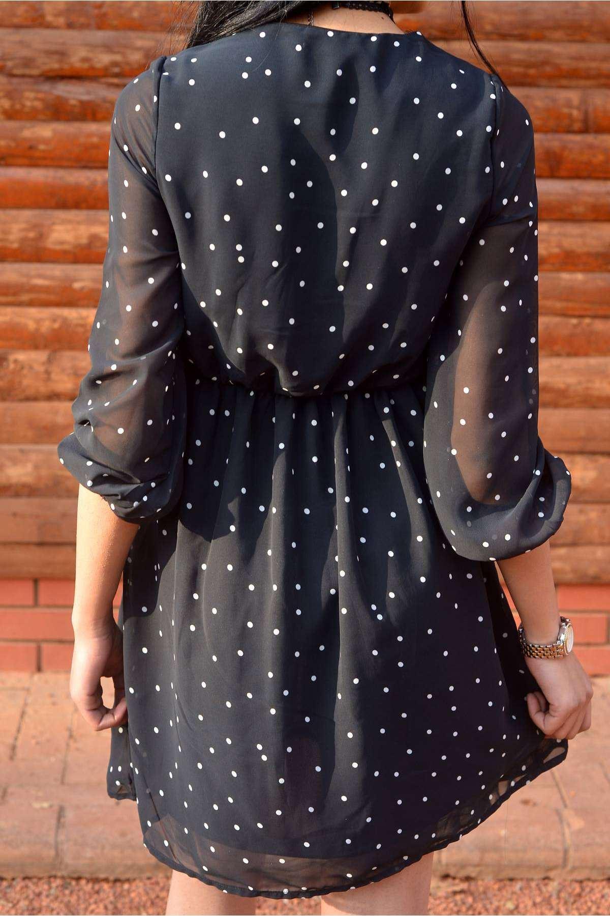 İçi Astarlı Yaka Bel Dantel Püskül Detaylı Puanlı Elbise Siyah