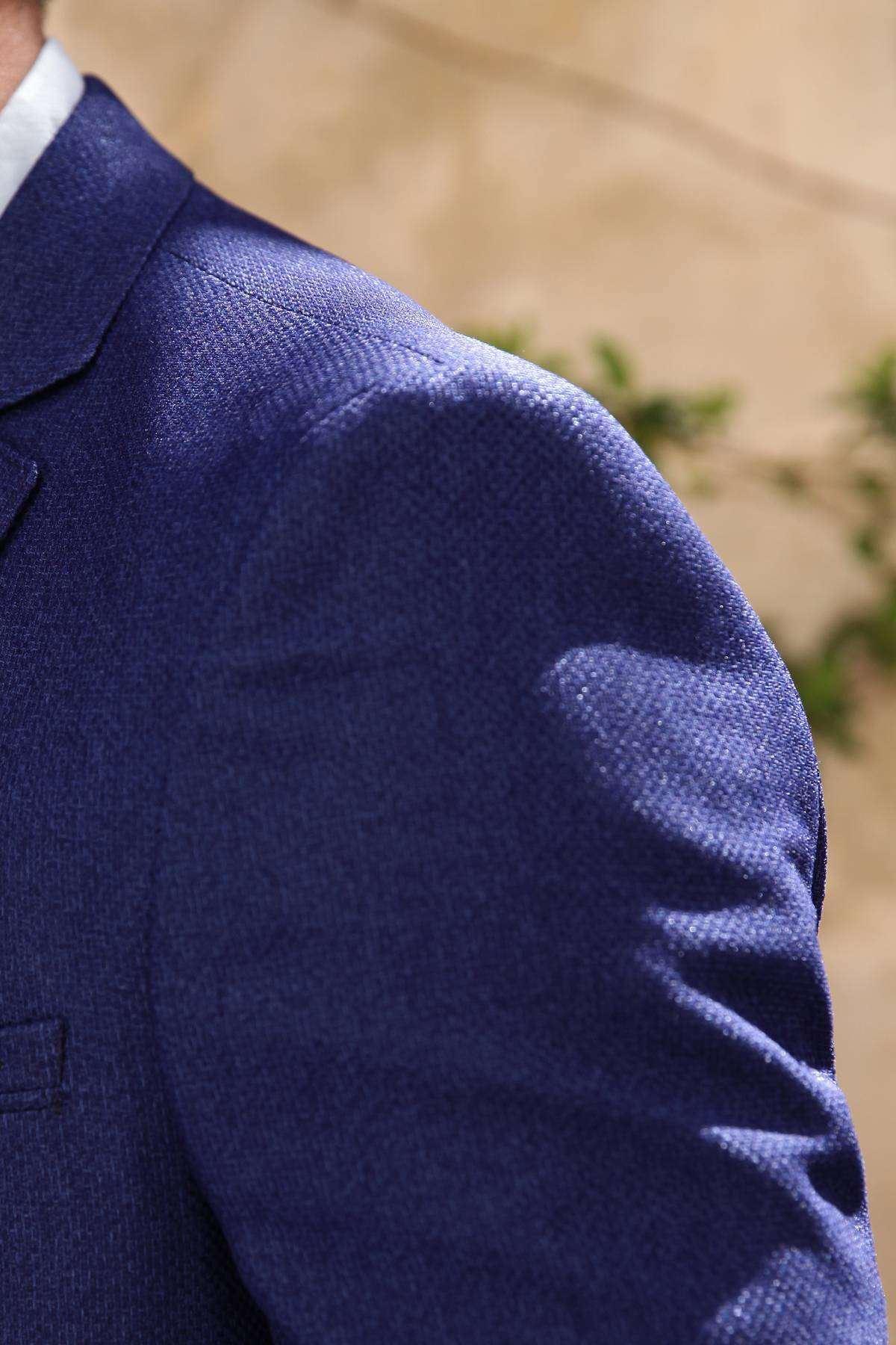 Hasır Desenli İçi Astarlı Slim Fit Ceket Saks