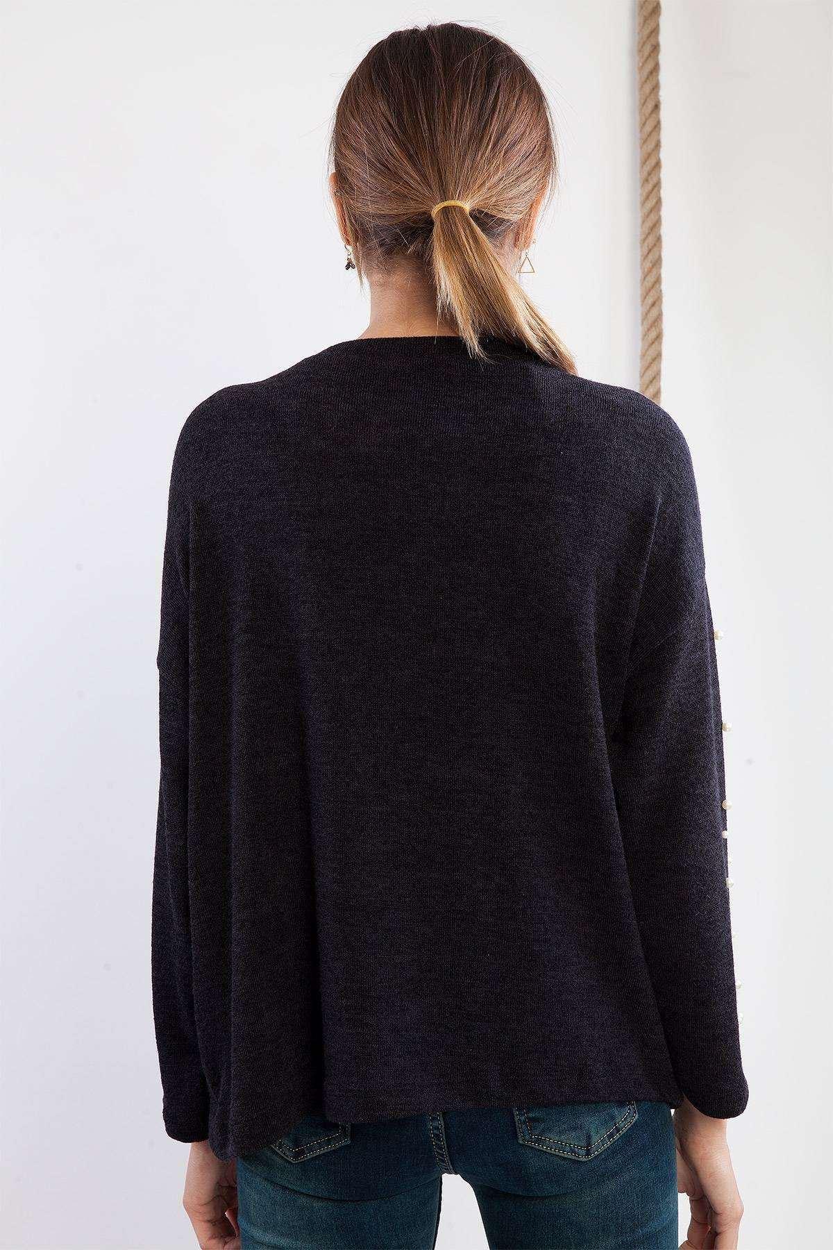 İnci Detaylı Salaş Triko Siyah