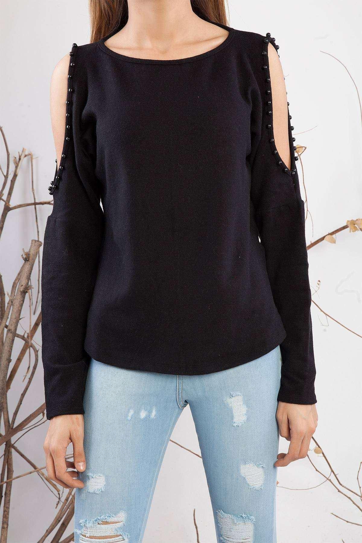 İnci Detaylı Omuz Dekolteli Yumoş Bluz Siyah