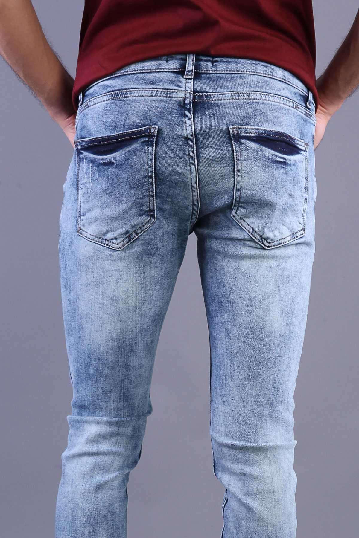 İp Yamalı Lazer Tırtıklı Paça Püsküllü Bilek Boy Kot Pantolon Açık-Mavi